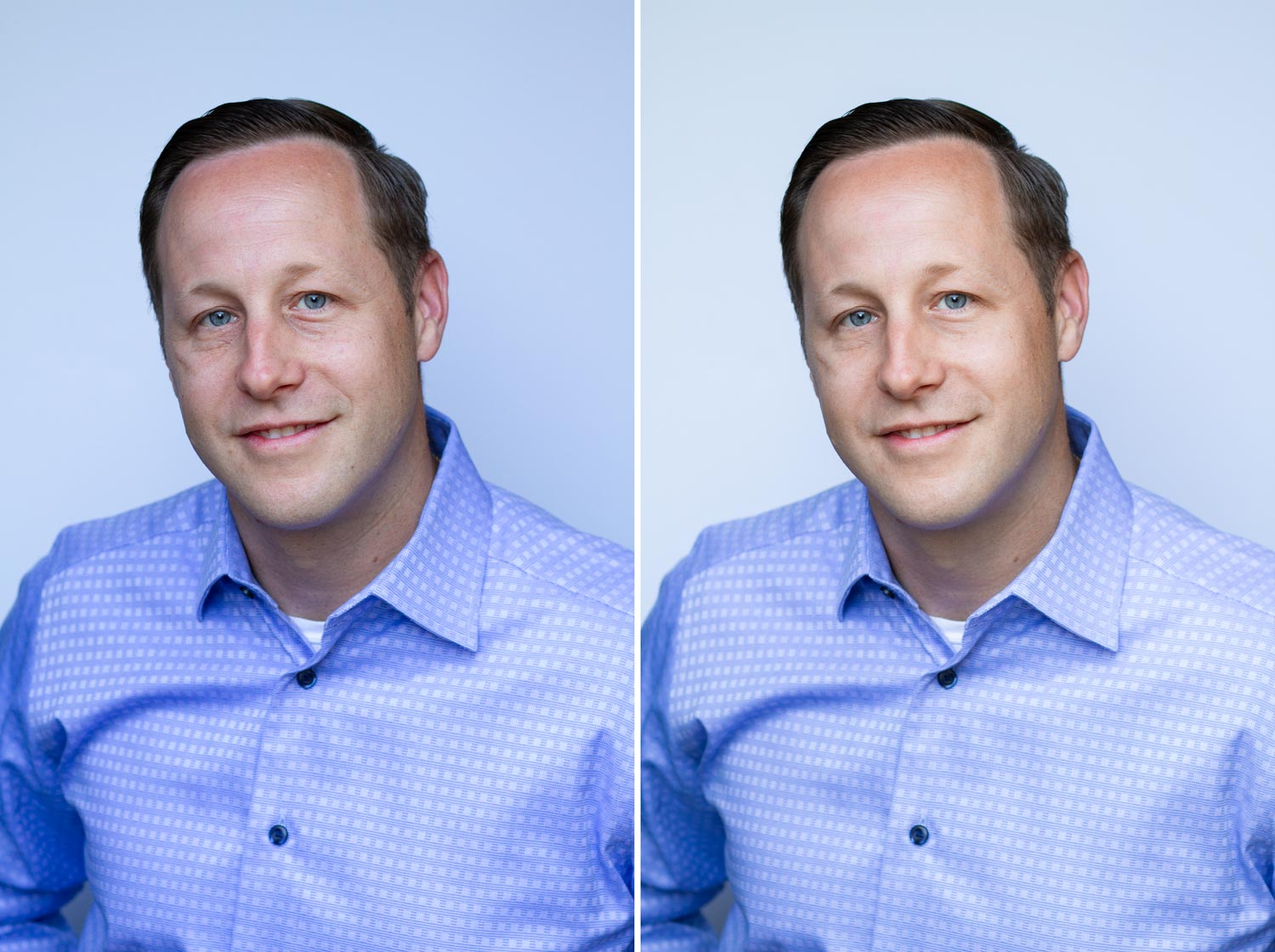 Professional Headshot before and after retouching