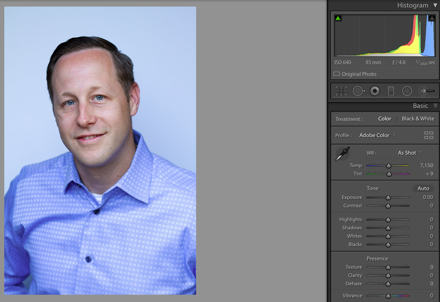 Professional Headshot before any editing in Adobe Lightroom