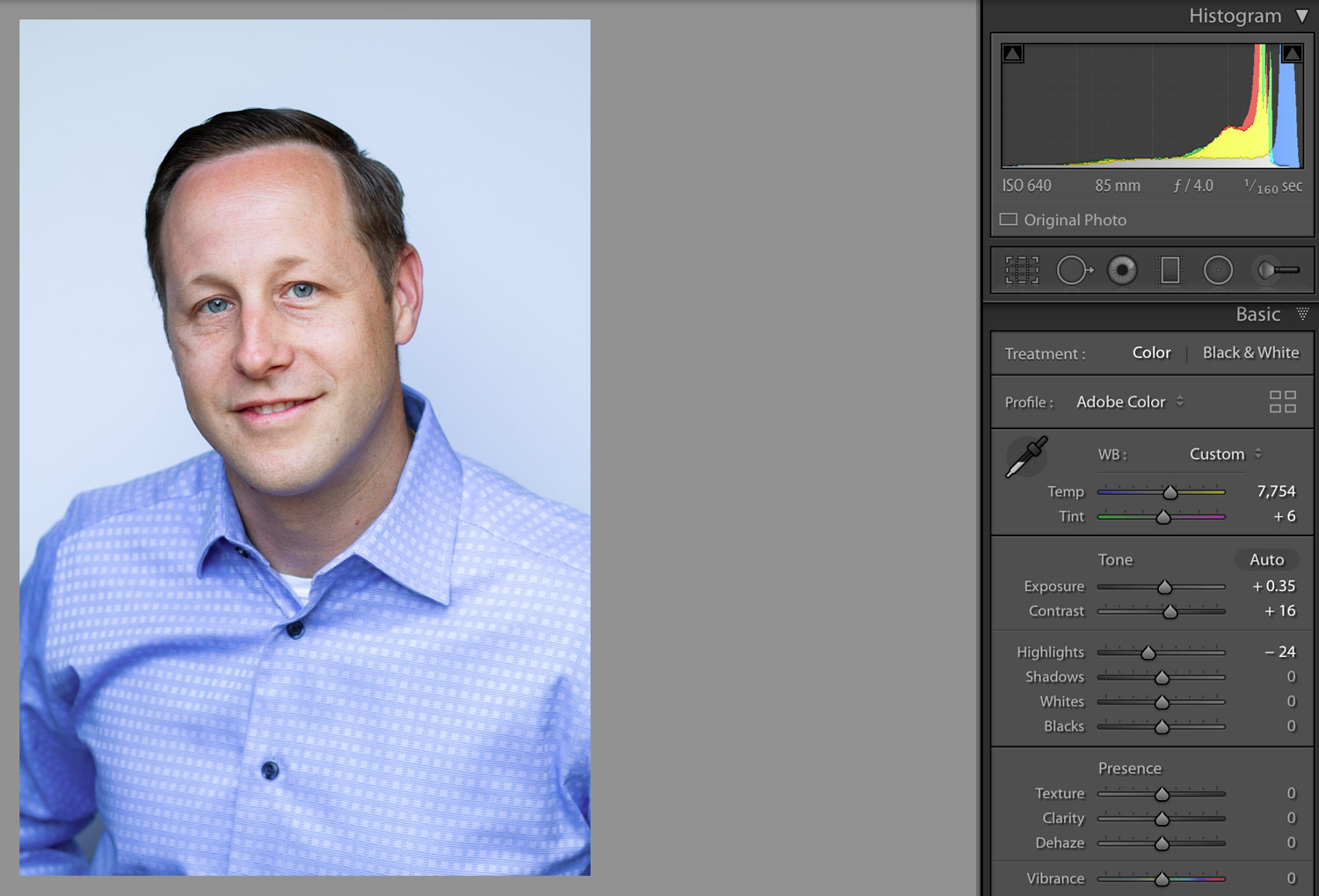 Professional Headshot after initial editing in Adobe Lightroom