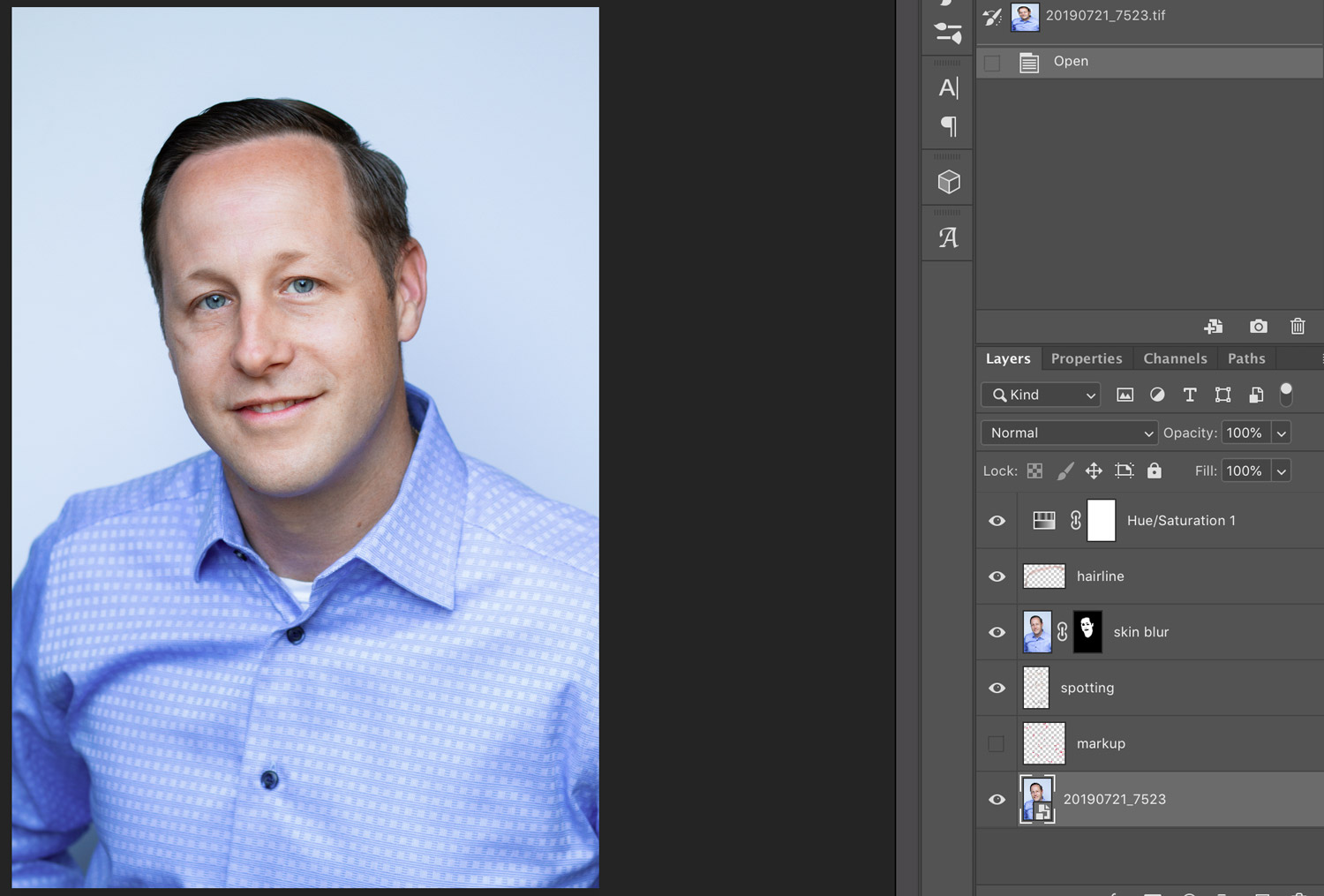 Professional Headshot after retouching in Adobe Photoshop