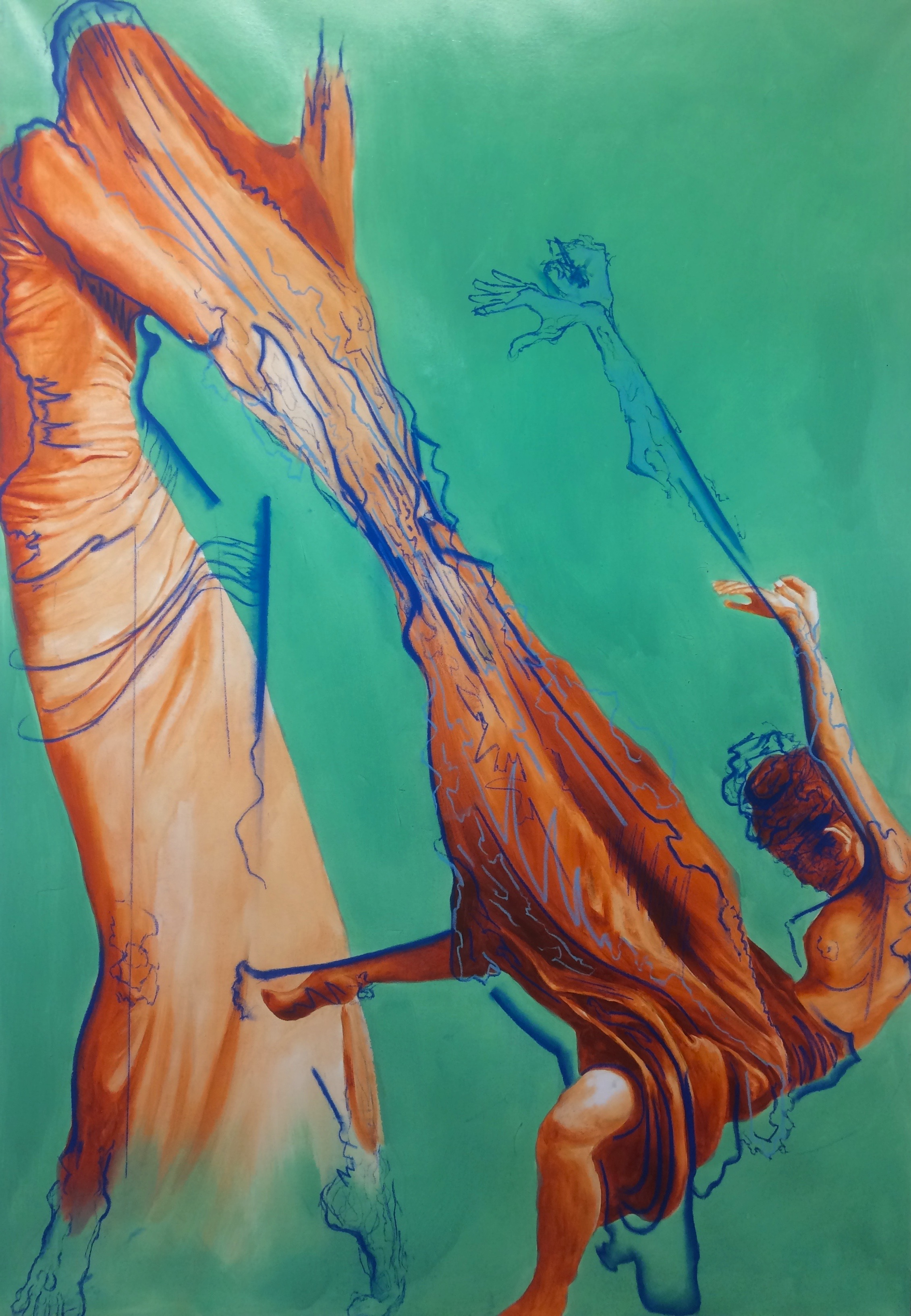 A Mother's Embrace  oil and soft pastel on canvas 45x65 inches 2015