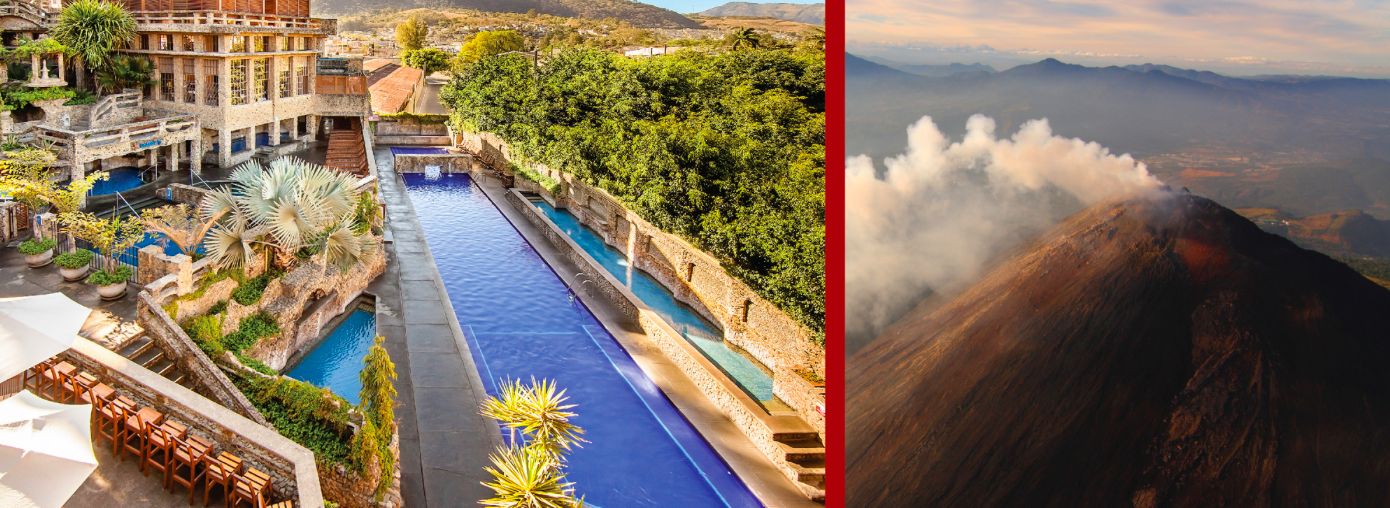 Drive one hour from Antigua to hike the Pacaya Volcano (2 hour hike), ending the day at the Thermal Hot Springs with 4.5 hour Spa/Massage Package and lunch.