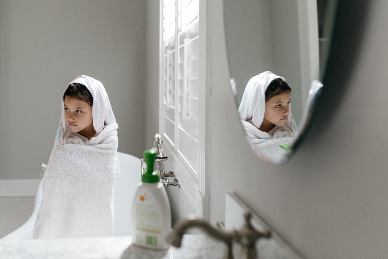 Girl Wrapped Up in Towels at Bathtime Central Florida Documentary Photographer.jpg
