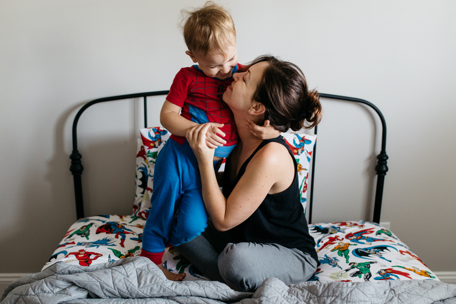 Mom and Baby Playing in Superhero Bedroom Orlando Lifestyle Family Photographer.jpg