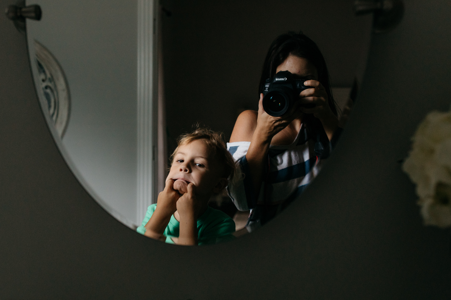 Mother and Son Bathroom Selfie Orlando Family Photographer.jpg