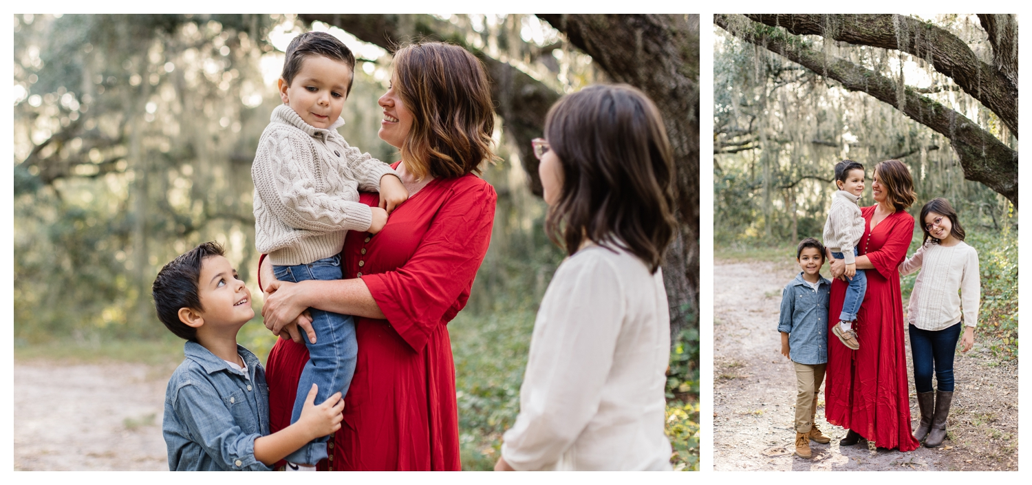 Candid Family Photos in Park with Oak Trees Orlando Family Photographer.jpg