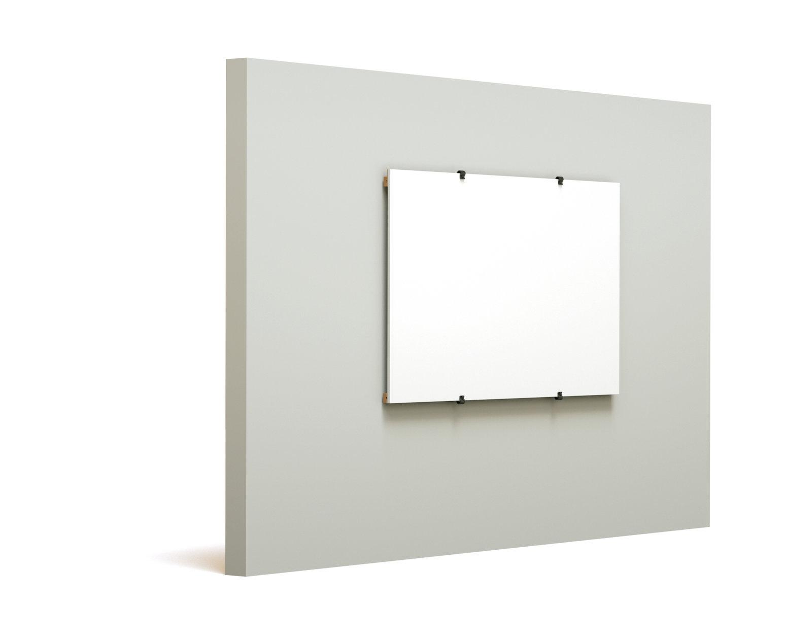 Austauschbare Whiteboards und Pinboards in Hoch- und Querformat für Wandmontage