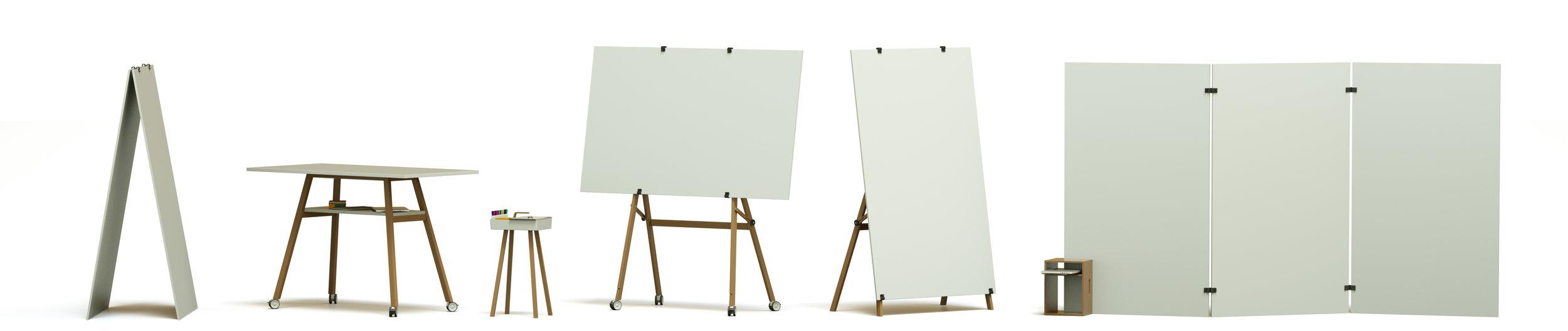 Whiteboard System. Flexibel, agil, leicht und aus Holz. Workshop Möbel, Flipcharts, Pinboards, Stehtisch und Design Thinking Set.