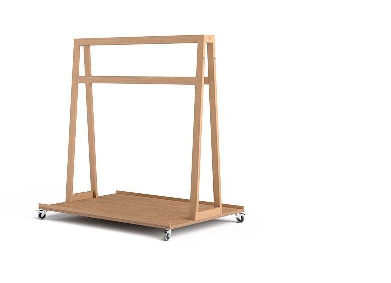 Stabiler Transportwagen aus Holz in puristischem Design für Creative Workspaces, Konferenzräume, Meetingräume und Design Thinking Zentren