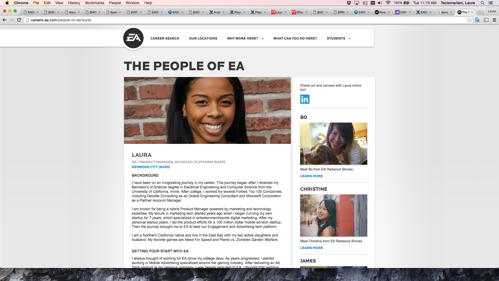 "Featured on EA Career's Site ""People of EA"""