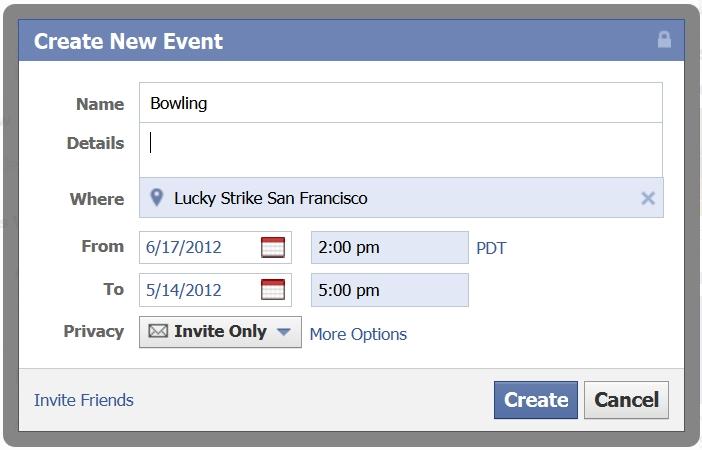 Lag en Facebook event