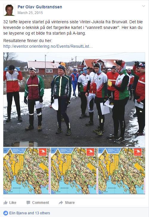 Eksempel på kort og fin omtale fra et Vinter-Jukola løp i Vestfold vinteren 2015 med 32 deltakere på Vinter-Jukola sin Facebook-side. Så enkelt kan det gjøres - men du kan selvsagt gjøre mer utav det om du ønsker.