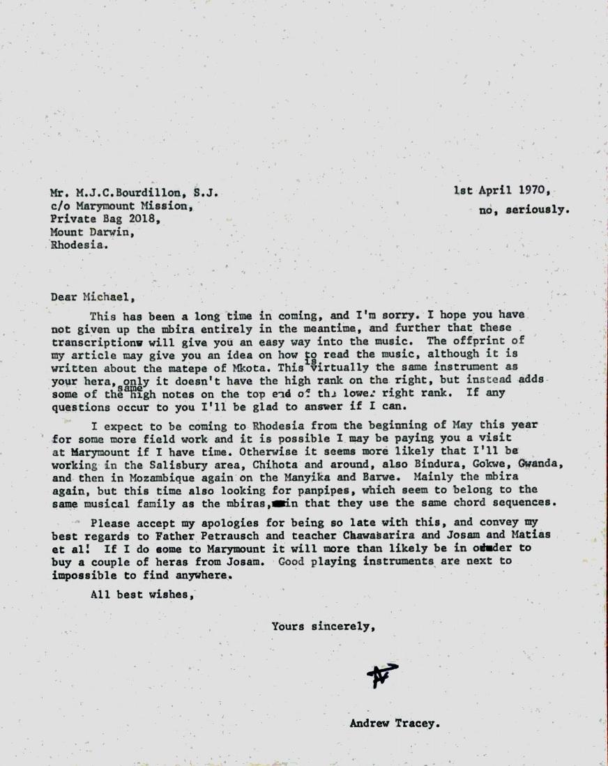 Letter to Michael Bourdillon, April 1970