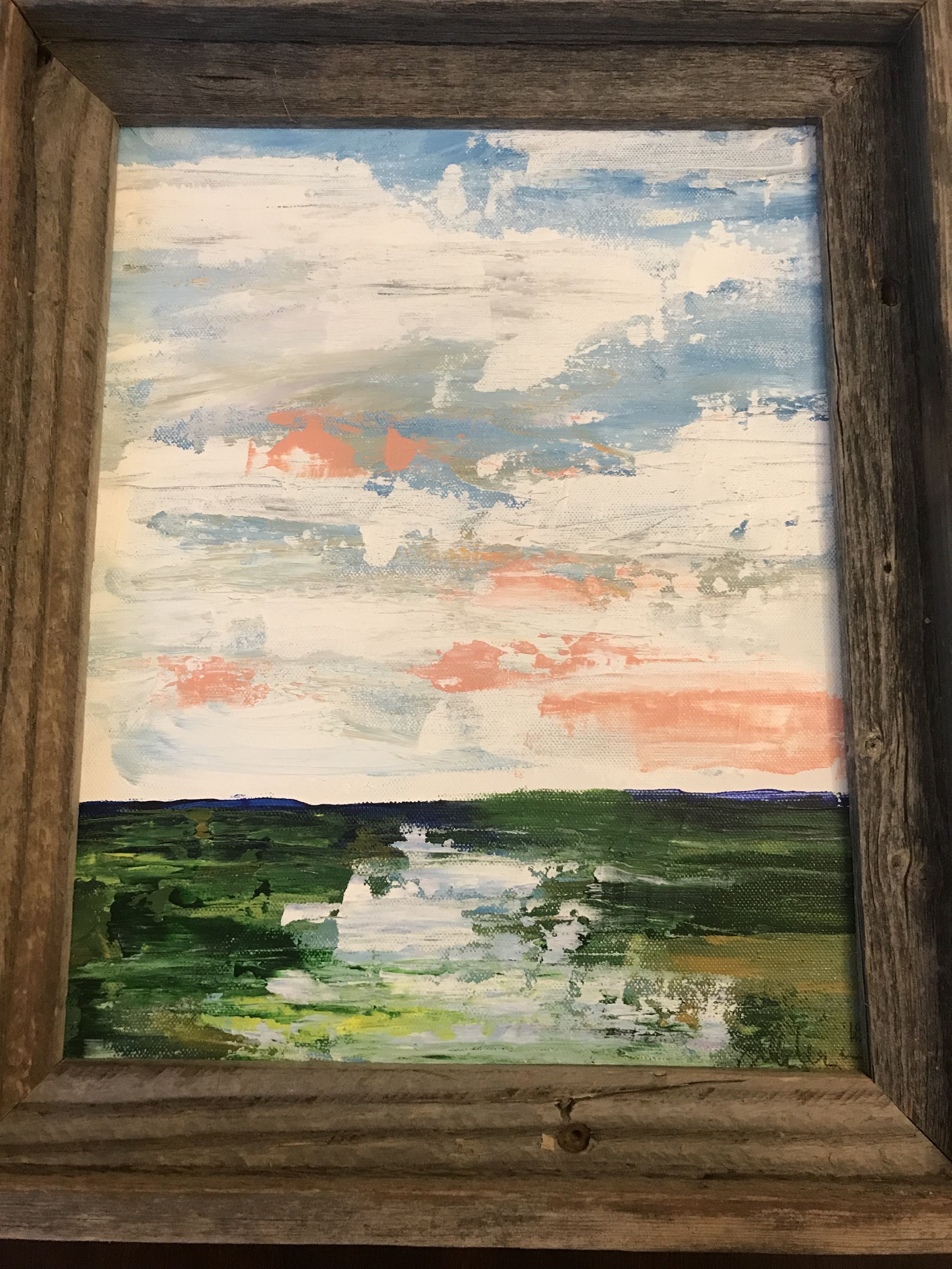 ACRYLIC LANDSCAPE PAINTING   This beautiful 14x17 weathered-wood framed acrylic on canvas landscape painting is sure to compliment any home.  DONOR: Sally League VALUE: $85