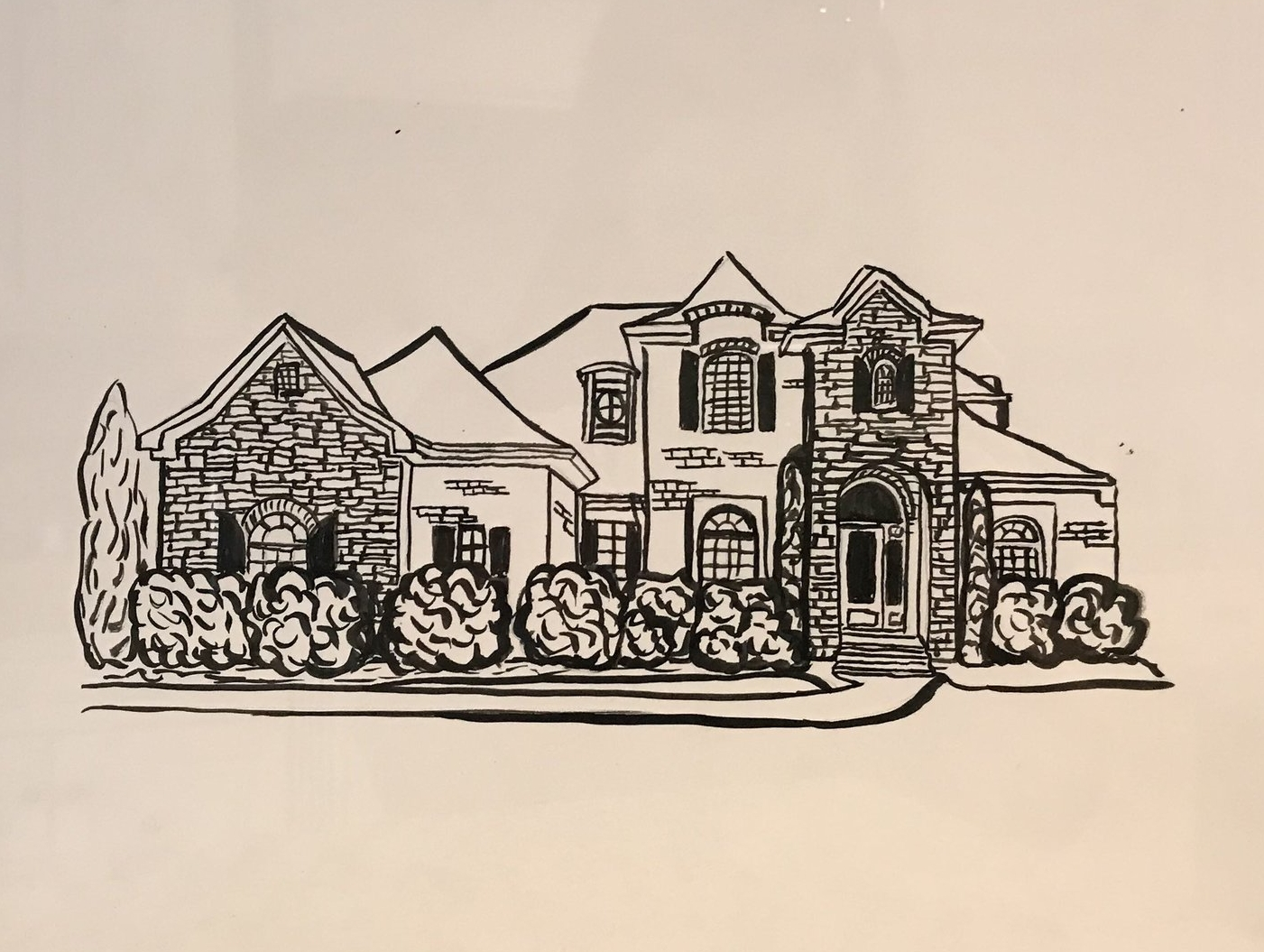 BLACK INK HOME DRAWING   Capture your beautiful home in art with this 8x10 unframed, black ink drawing on stiff bristol board paper. You provide the photos of the home to be drawn.  DONOR: Eliza Kate Carter VALUE: $75