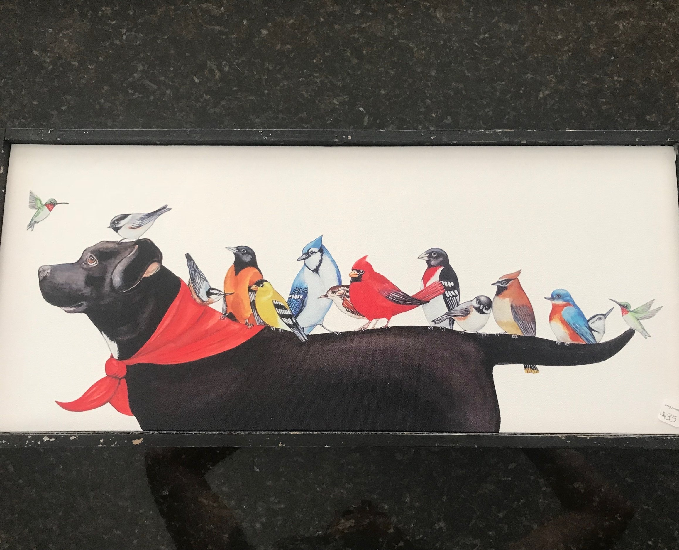 LABRADOR & BIRD CANVAS   Animal lovers will adore this 25x11 weathered-wood framed acrylic on canvas painting of a labrador with his bird friends.  DONOR: Emily Austin VALUE: $35