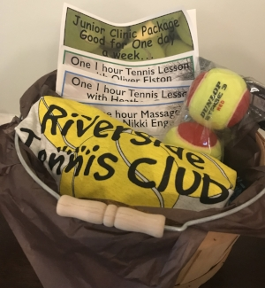 TENNIS ANYONE? BASKET   You're never too young to learn to play tennis! This basket includes (2) private one-hour lessons, junior clinic package, a massage, T-shirt, and a set of balls.  DONOR: Riverside Tennis Club VALUE: $260