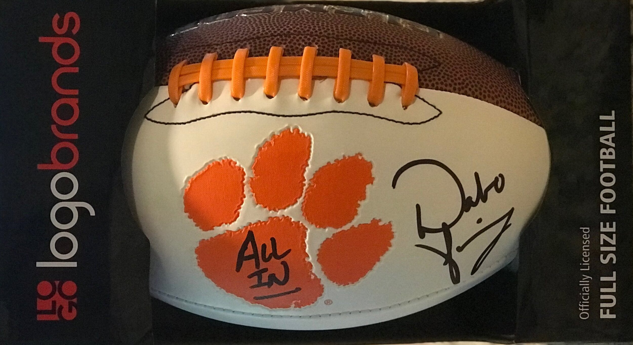 CLEMSON AUTOGRAPHED FOOTBALL   Add this full-size football autographed by Clemson's football coach, Dabo Swinney, to your collection of memorabilia.  DONOR: BV PTA and Clemson Athletics VALUE: Priceless