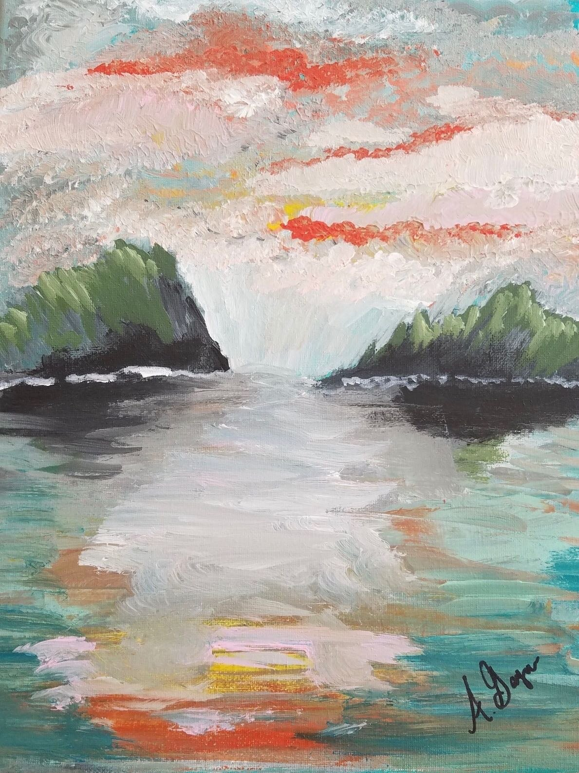 """""""BE STILL"""" FRAMED ACRYLIC PAINTING   """"Be Still"""" is an 11x14 framed acrylic on canvas landscape painting and is sure to complement any home.  DONOR: Ashley Gaymon VALUE: $90"""