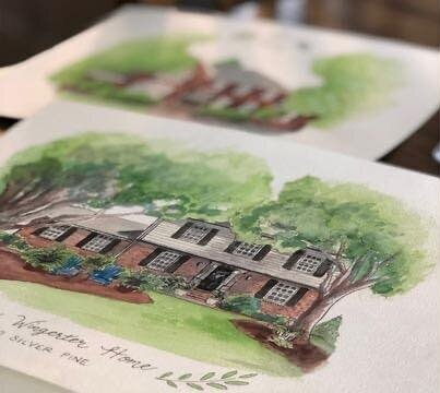 CUSTOM WATERCOLOR HOUSE PAINTING   Looking for the perfect holiday gift? How about an 8x10 hand drawn custom home painting using watercolor and ink! Includes painting on watercolor paper and a black mat.  DONOR: Jaime Cain Custom Art VALUE: $75