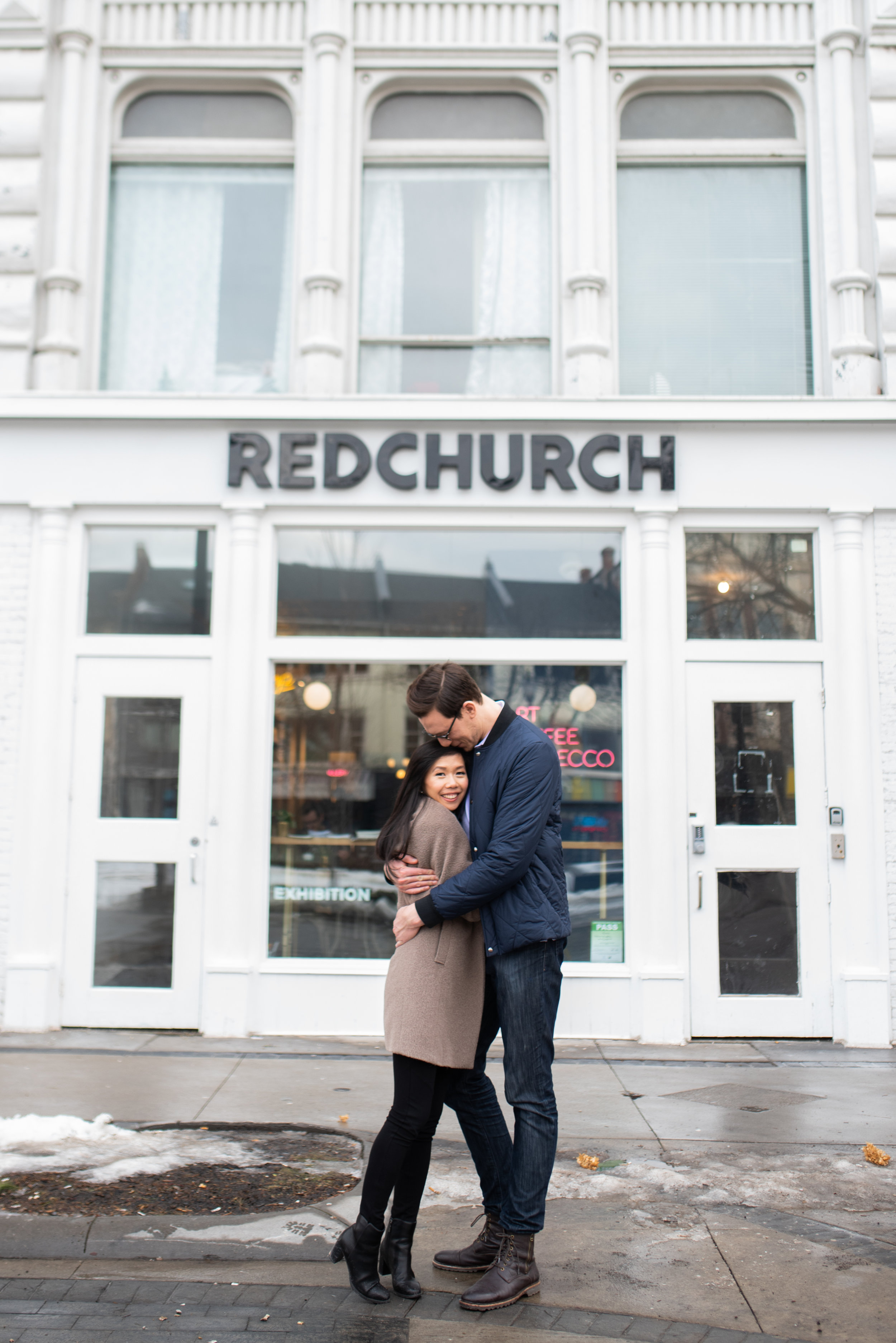downtown Hamilton engagement session RedChurch Cafe and gallery