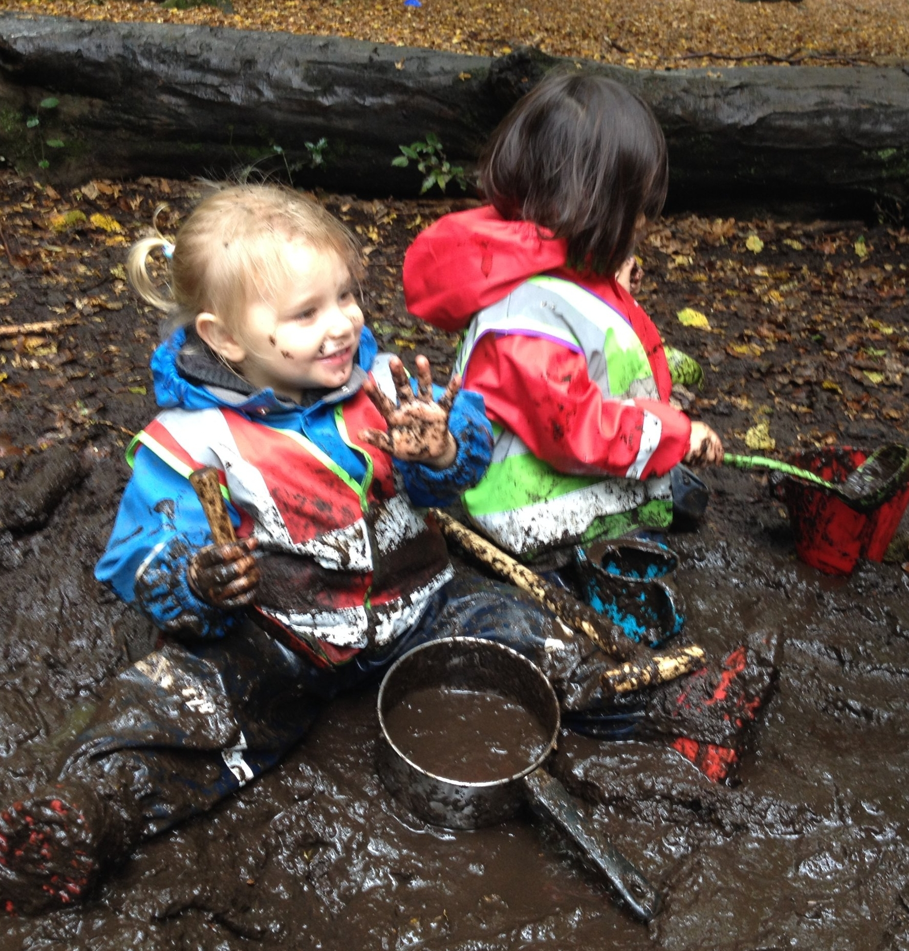 Making mud pies and getting creative in the mud kitchen