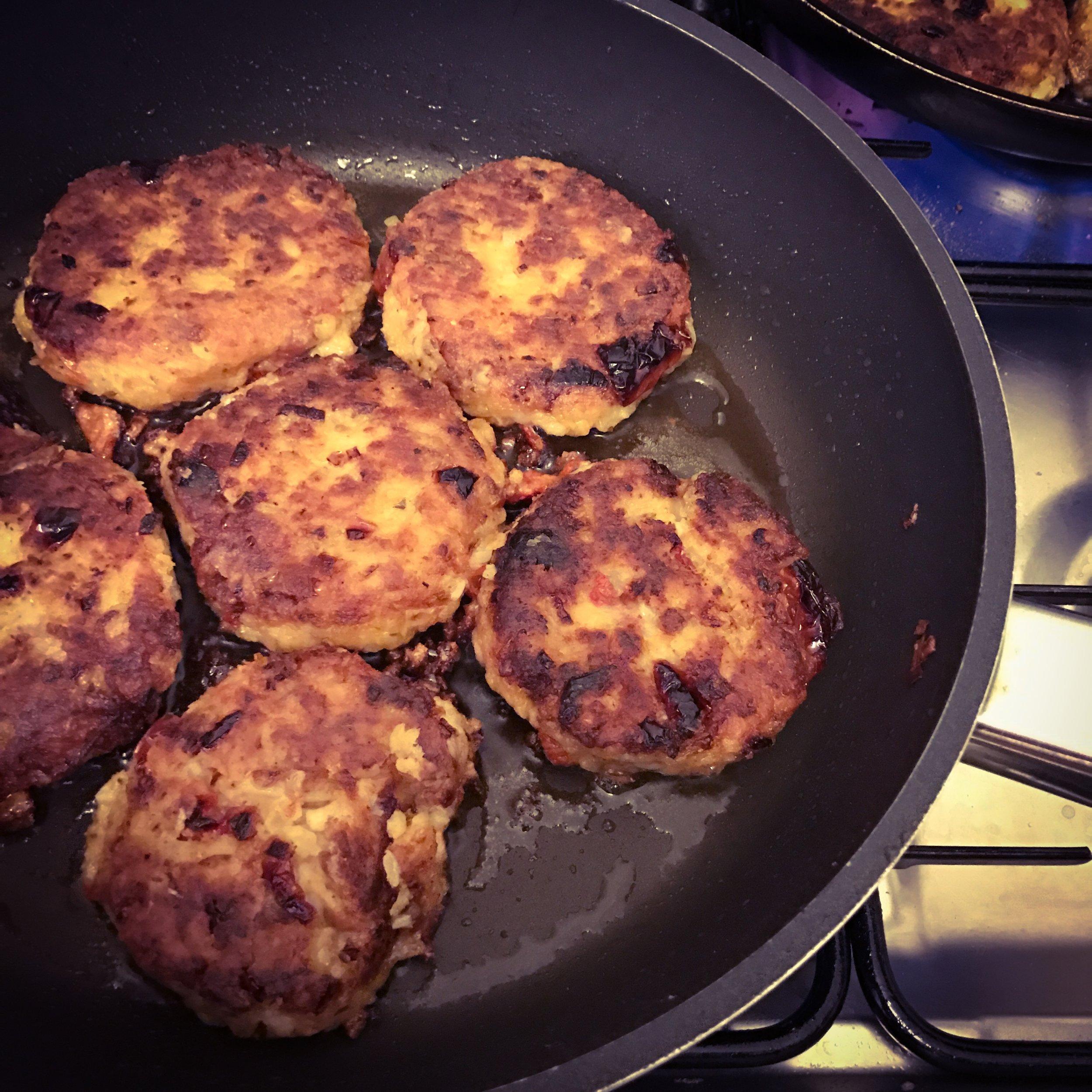 Bean burgers in the pan