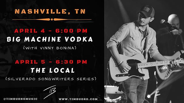 Nashville! I'll see ya this week 🤘🏻 April 4 at @bigmachinevodka with @vinnybmusic and April 5 at @thelocalnash for the @silveradorecords signature songwriters series with @twinklermusic @adrienne.leigh.h Stream live on Periscope @silveradolabel!