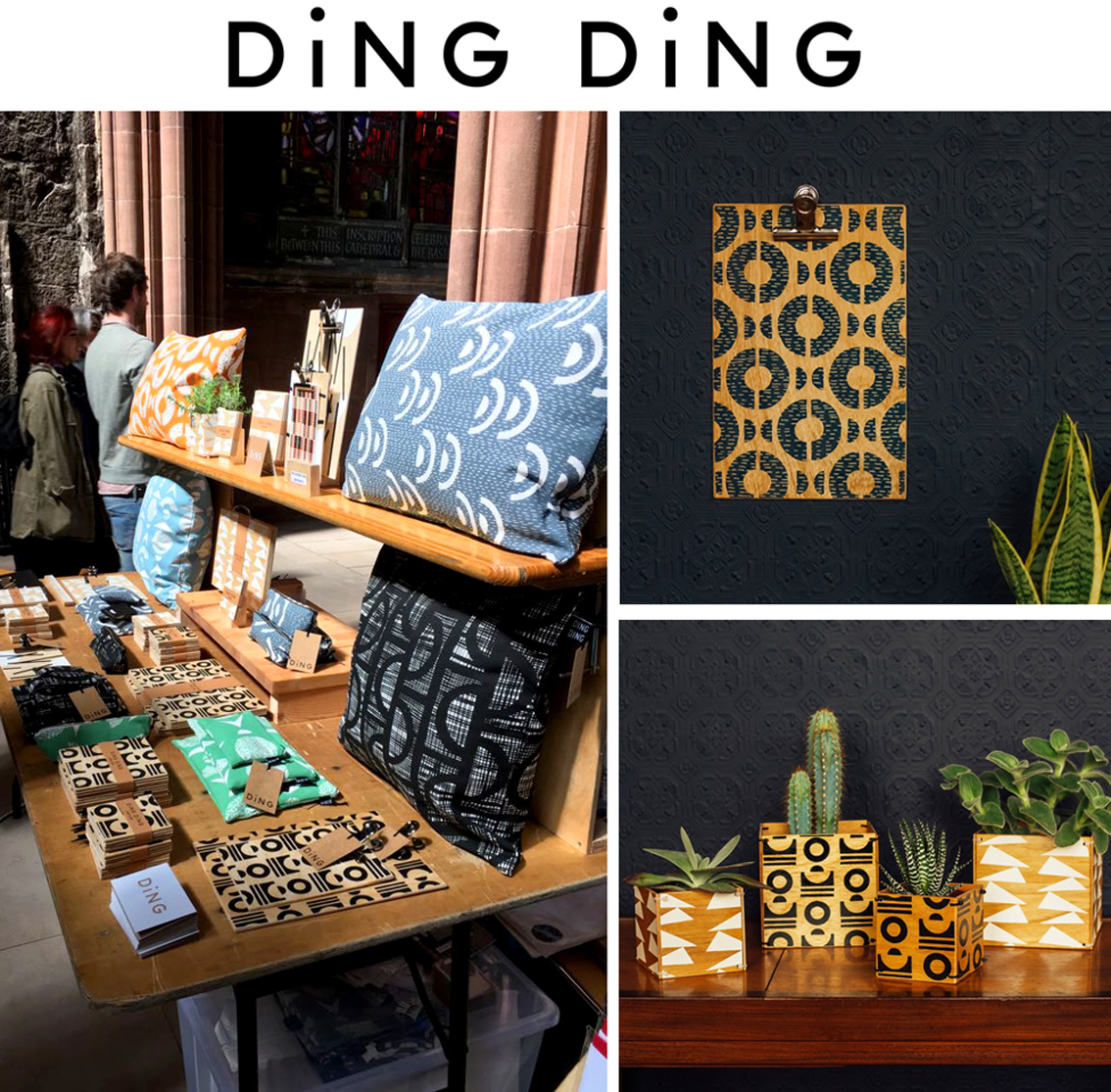 I've been a big fan of  Ding Ding  for a while now, so it was lovely to have a quick chat at the fair. Each item is made by hand in Nottingham, starting with hand-cut collages which are then simplified into one colour prints and applied to homewares, accessories and stationery. I LOVE the clip boards (of which I have two of my own!)