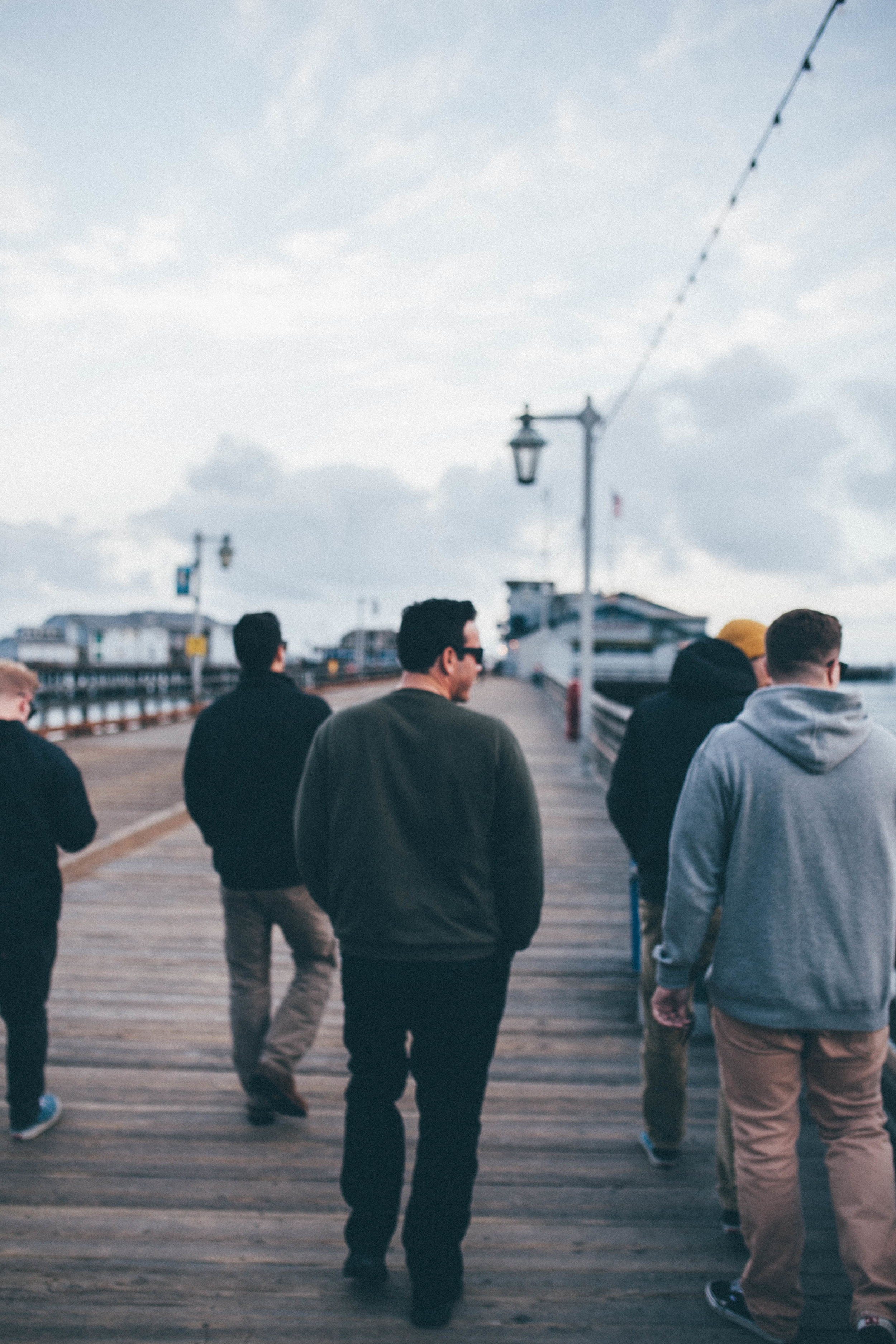 The gang exploring the wharf in SB