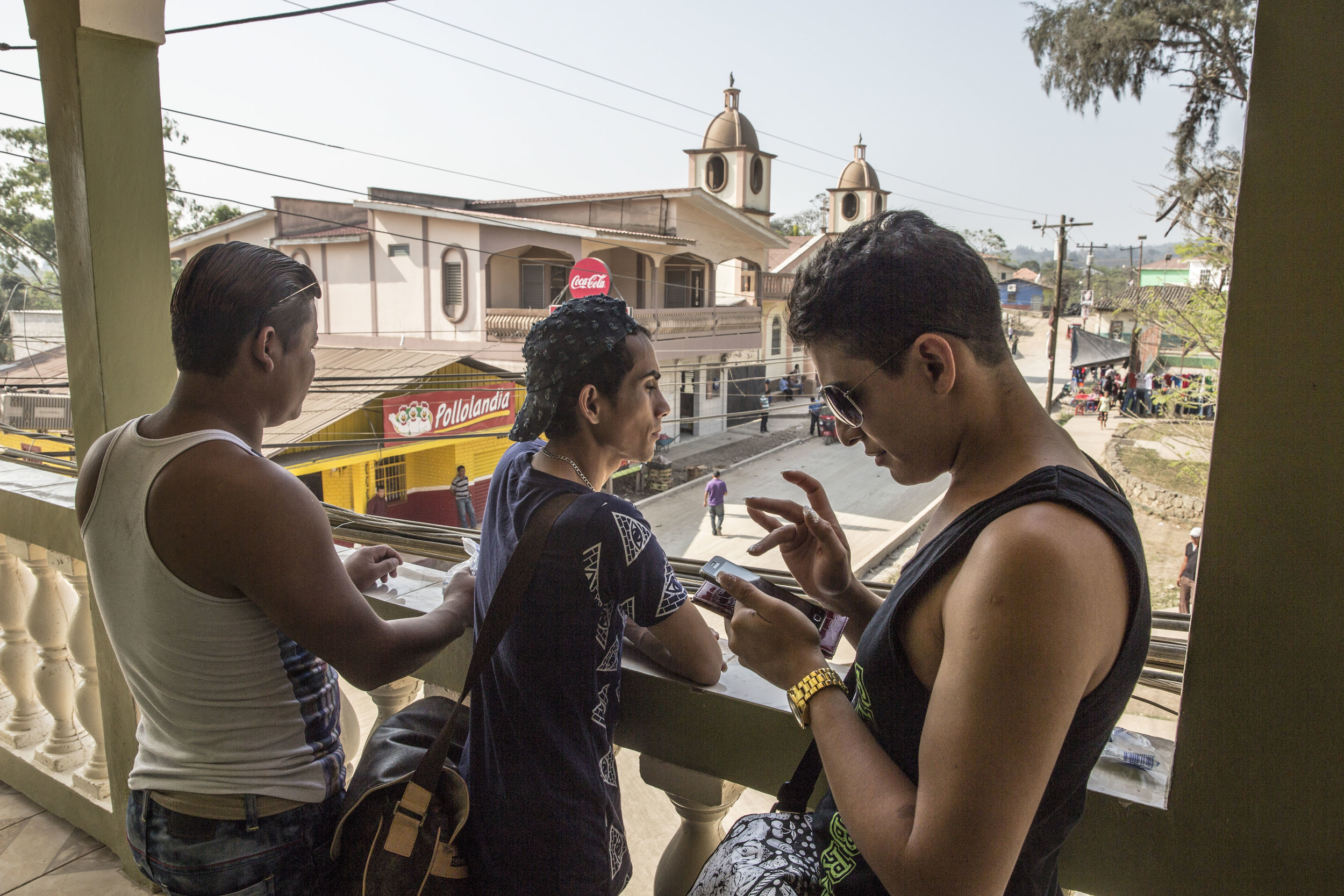 Darwin's friends after a night out in the small town of San Antonio de Cortez, Honduras.