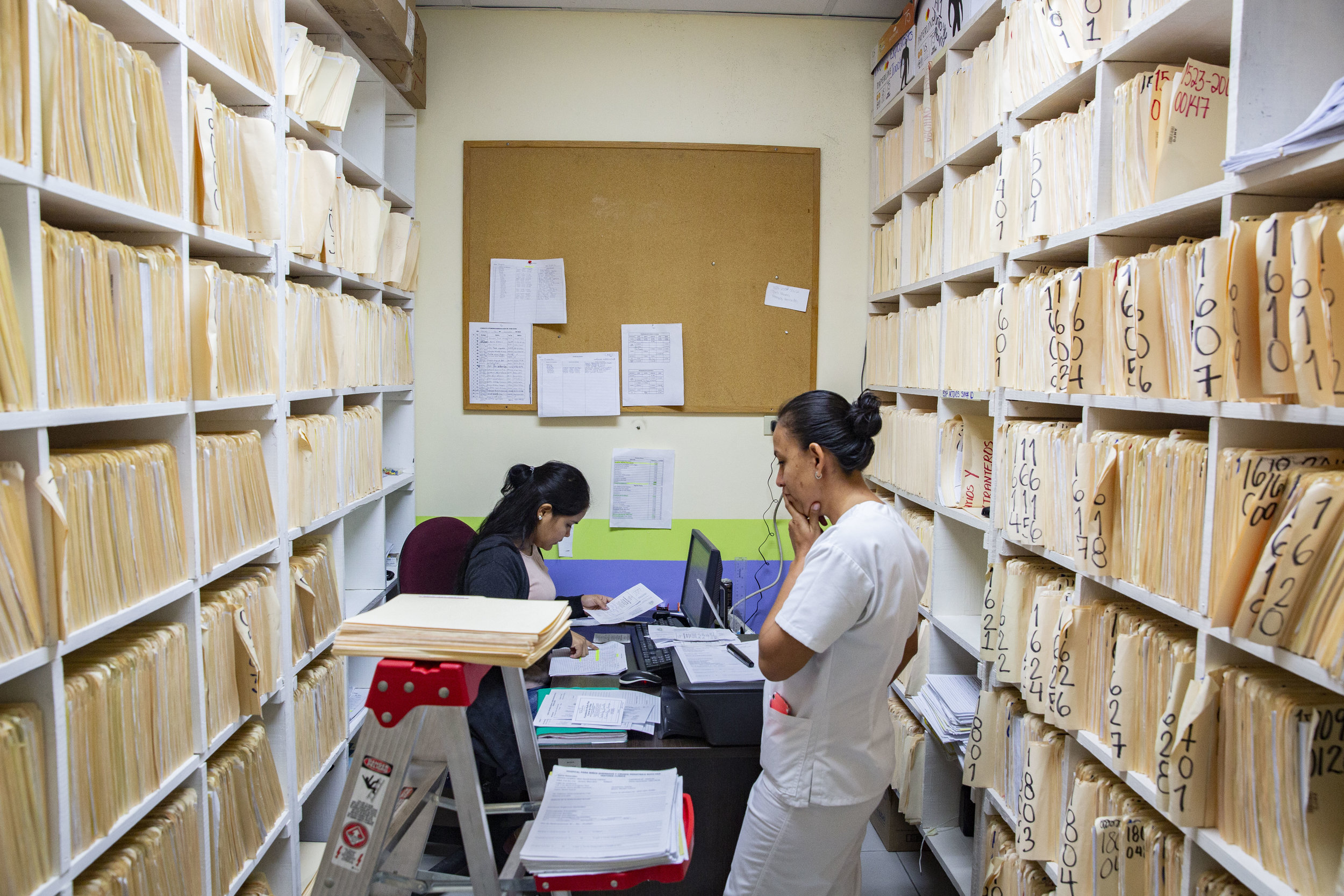 Archives inside the Ruth Paz hospital in San Pedro Sula, Honduras.