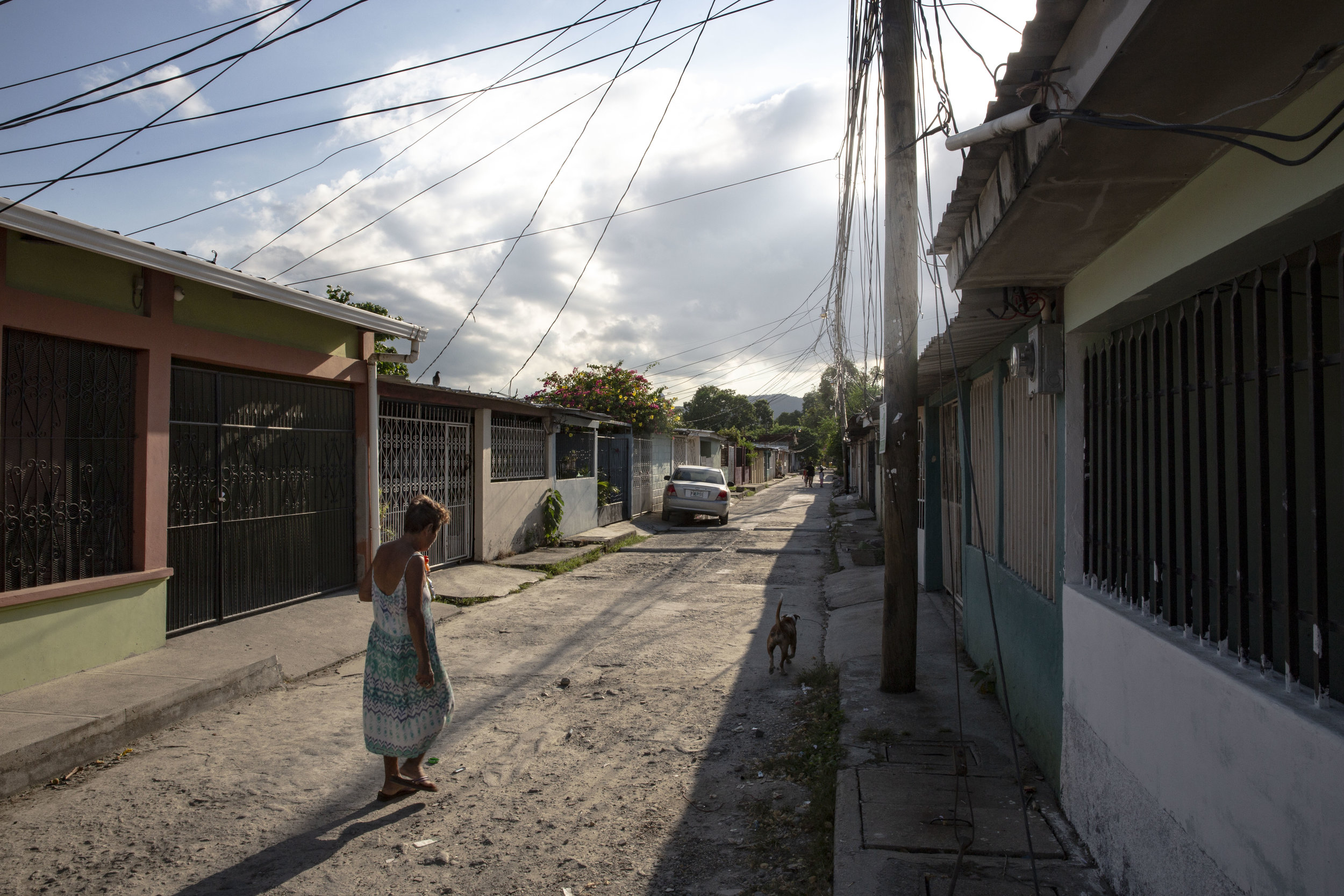 Outside the house of Jose Danilo Ramos , 10, born with anorectal malformation and operated at the Ruth Paz hospital in San Pedro Sula, Honduras.