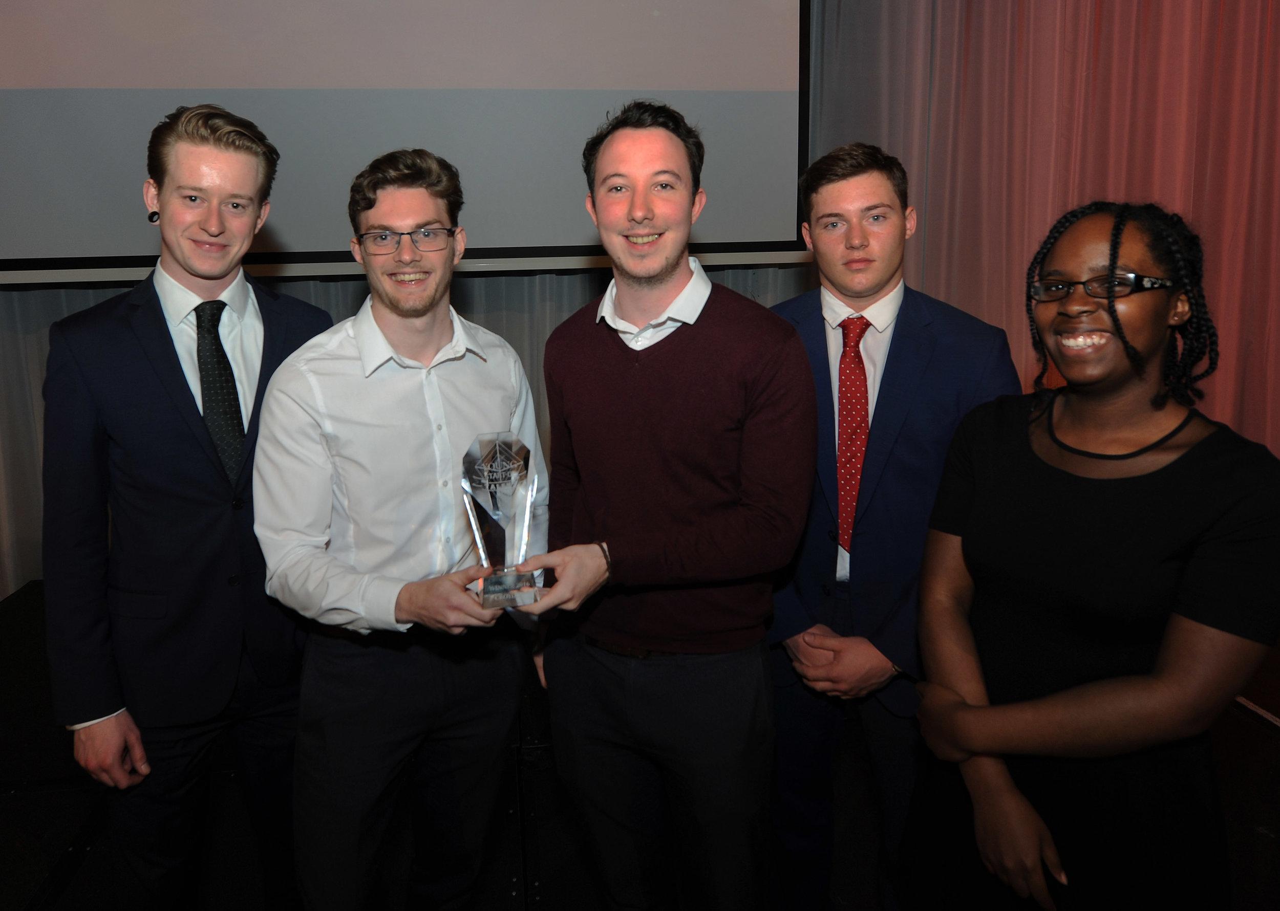 Young Start-up Talent Croydon 2016 finalists           (Left – Harry Flaherty, Laurence Grant, Robert O'Sullivan, Kuris Peck, Serena Evans)
