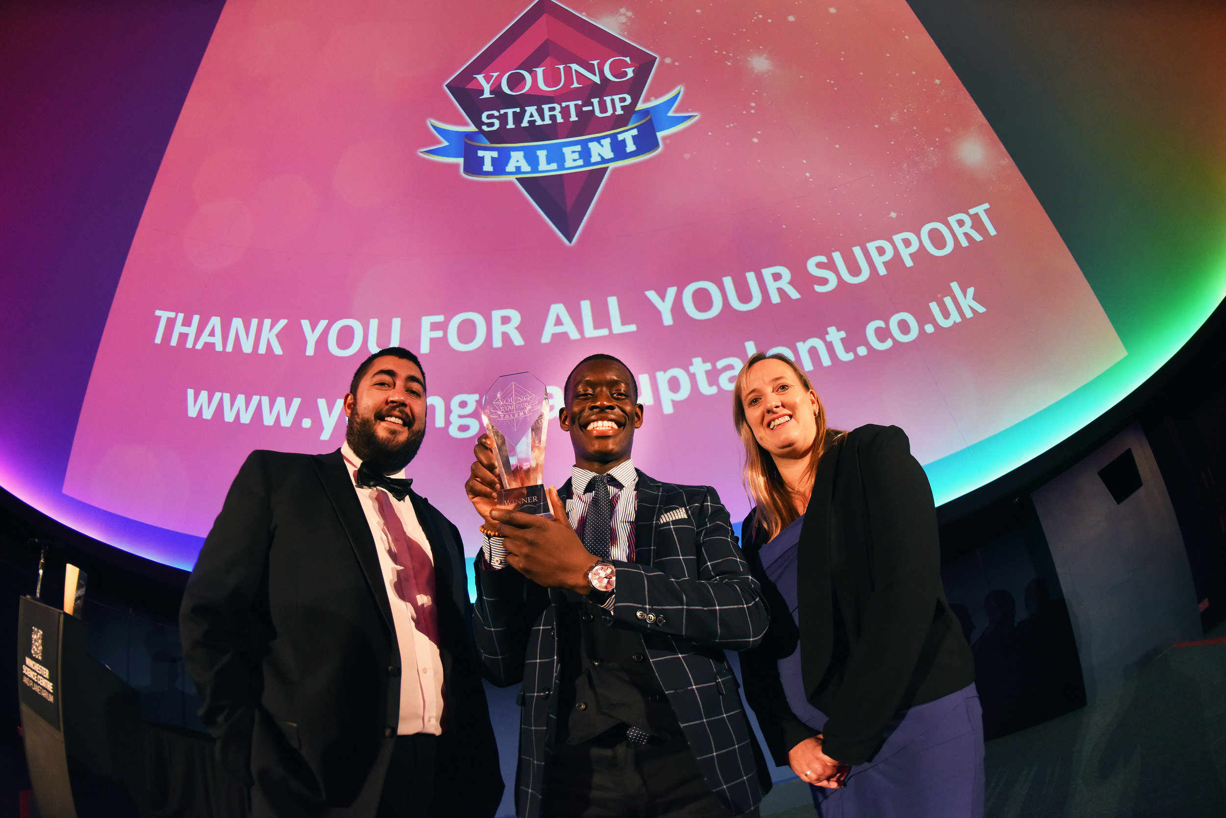 Matt Turner, Jeremy Mutebi and Lorraine Nugent
