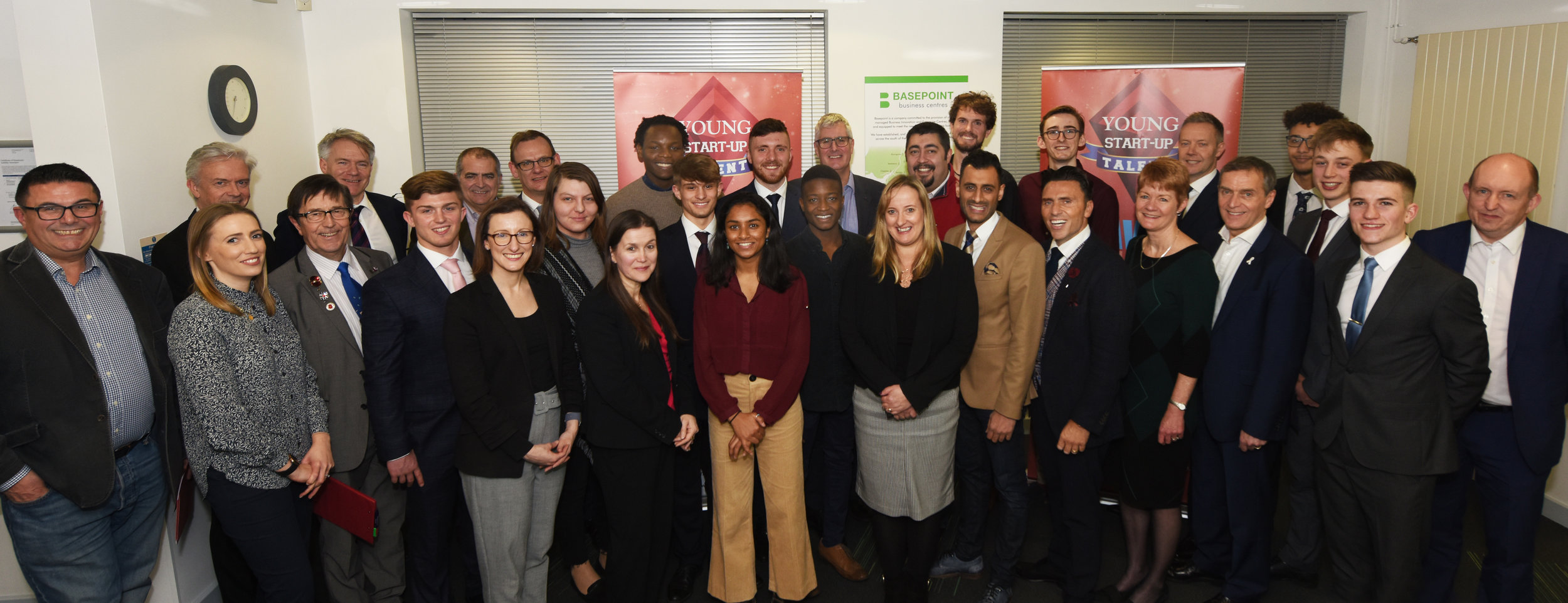 Young Start-up Talent - 2019 judges, sponsors and young entrepreneurs at Basepoint Crawley