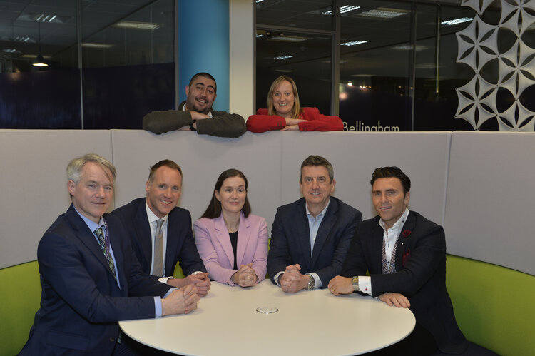 Young Start-up Talent 2020 Judges - L to R (Dave Kickham (Thales UK), John Redfern (NatWest), Ana Christie (Sussex Chamber of Commerce), John O'Mahony (Grant Thornton) and Mario Carrozzo (Caridon Property) - at the back Founding Partners - Matt Turner and Loraine Nugent