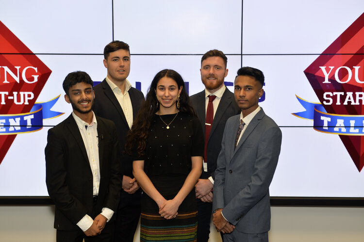 Young Start-up Talent 2020 Finalists - L to R - Ayush Sanghavi, Logan Leckie, Carmel Kalani, Anthony Mellor and Zak Lloyd