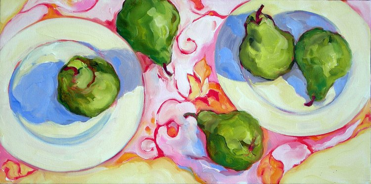 """5 Green Pears, oil on canvas, 12x24"""" SOLD"""