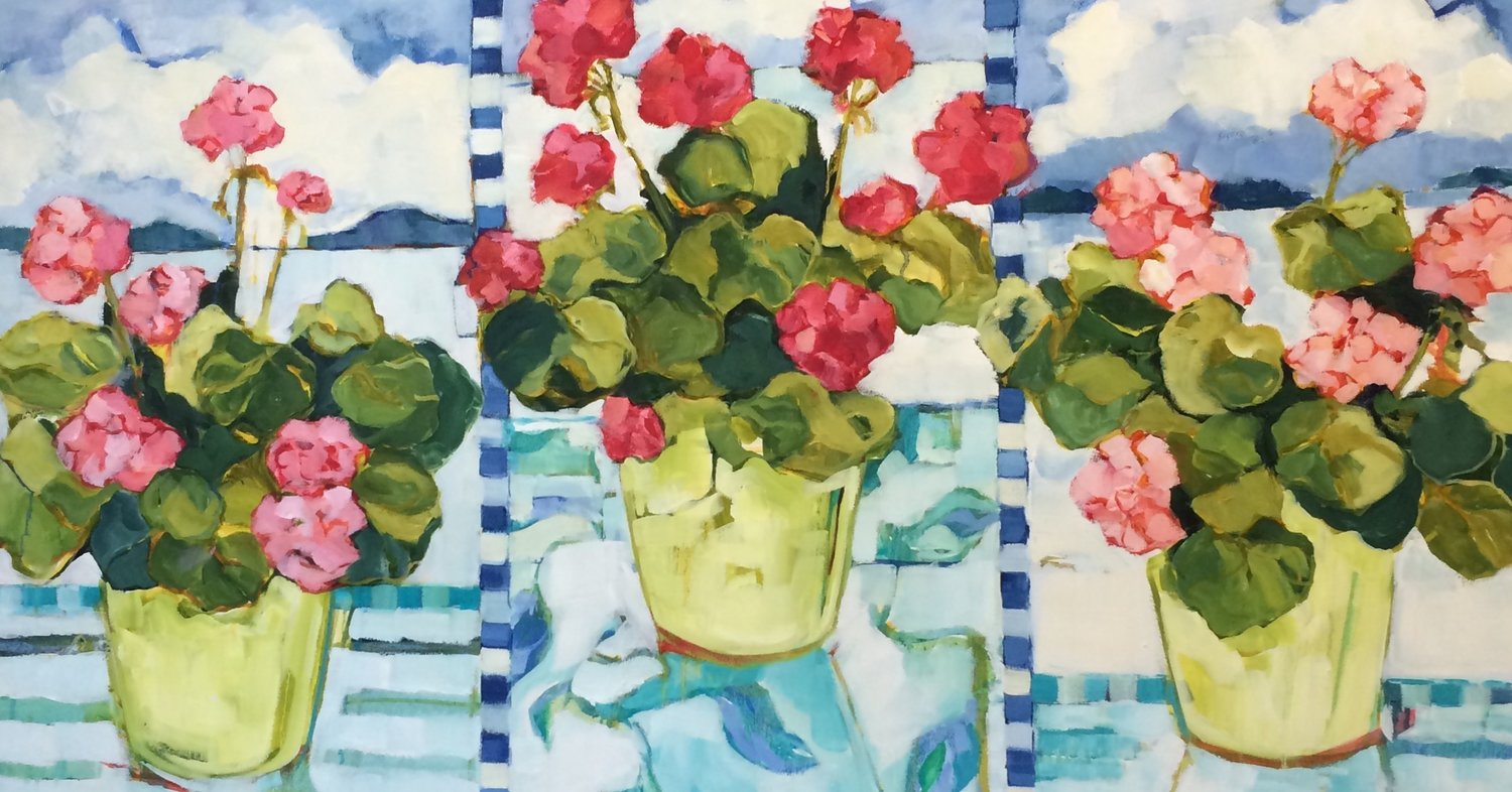 """Dock Geraniums, oil on canvas, 36x48"""" SOLD"""