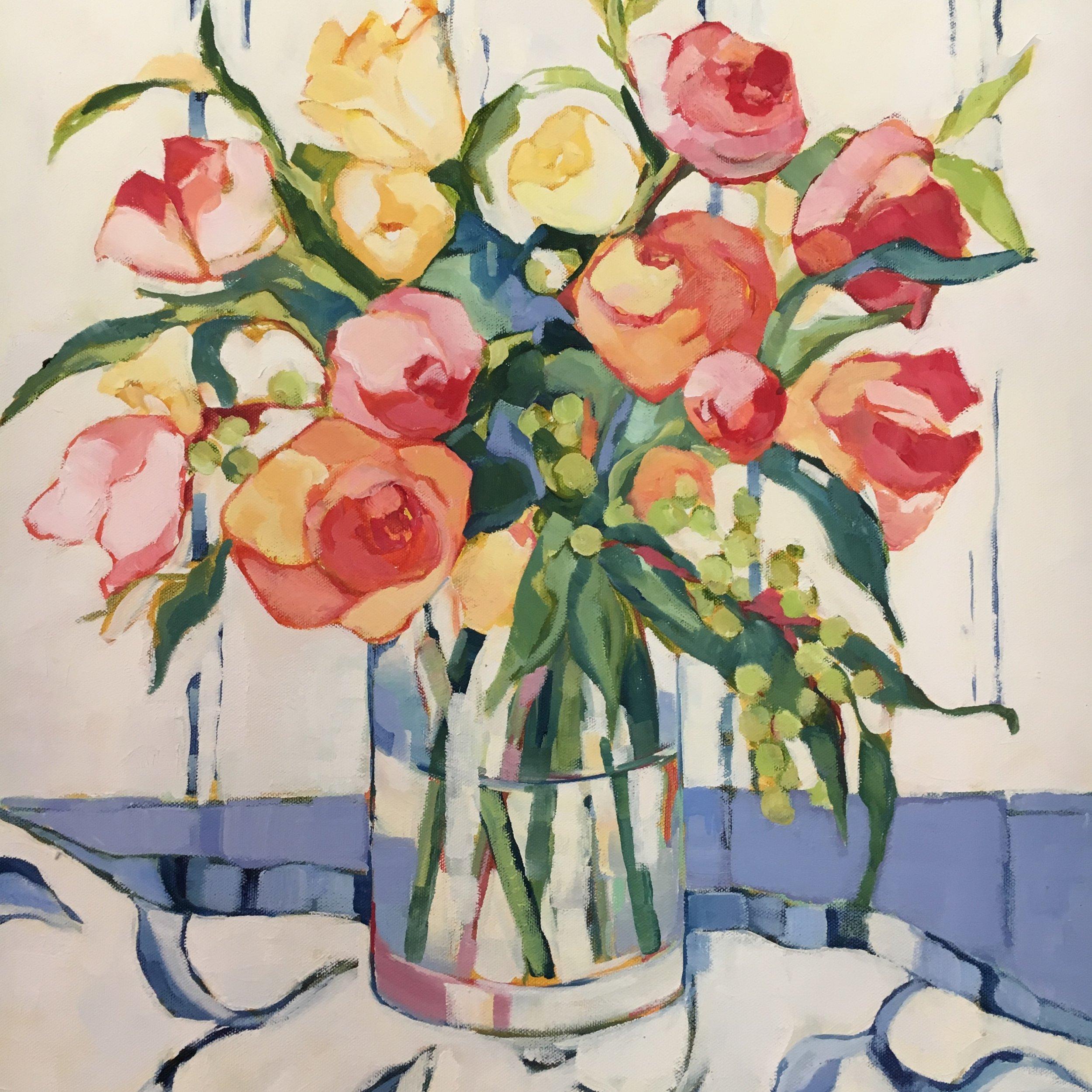 "Spring Still Life,oil on canvas, 24x24"" SOLD"