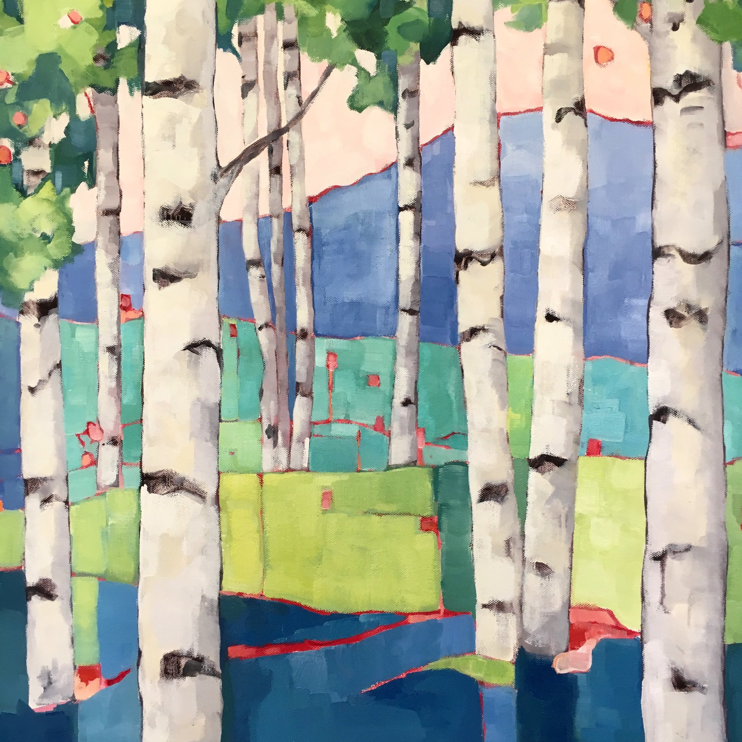 "Birch Study 1, oil on canvas, 24x24"" SOLD"