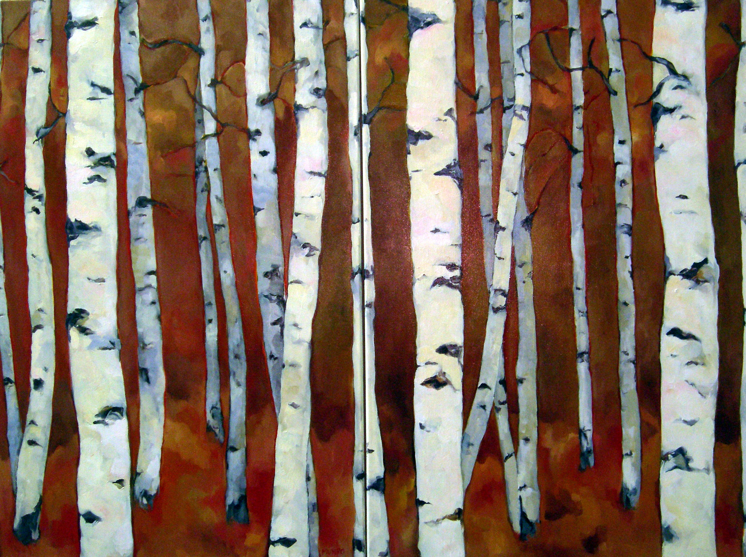 Birch Diptych, oil on canvas, 48x60 SOLD