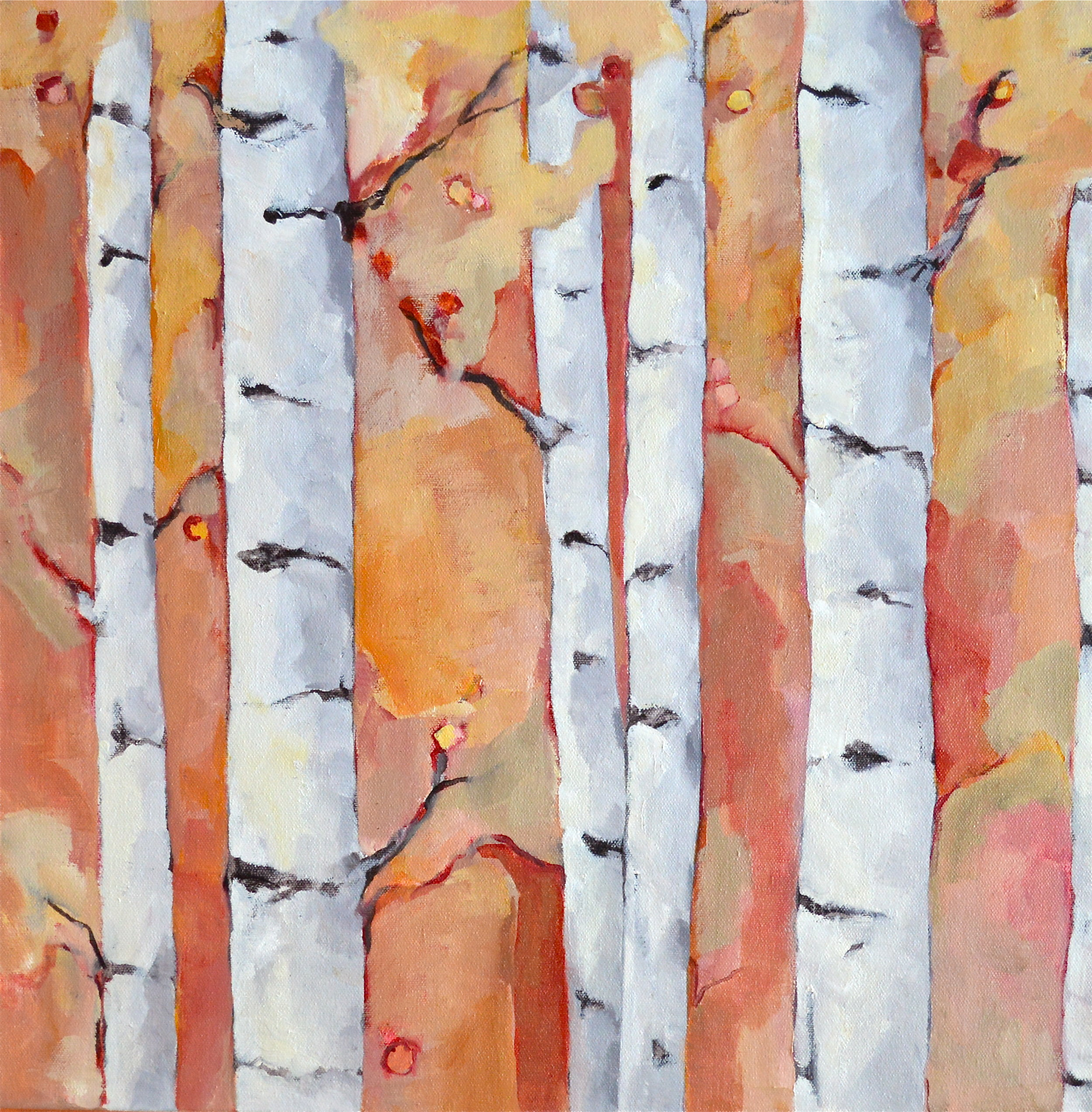 "Fall Birches #1, oil on canvas, 24x24"" SOLD"