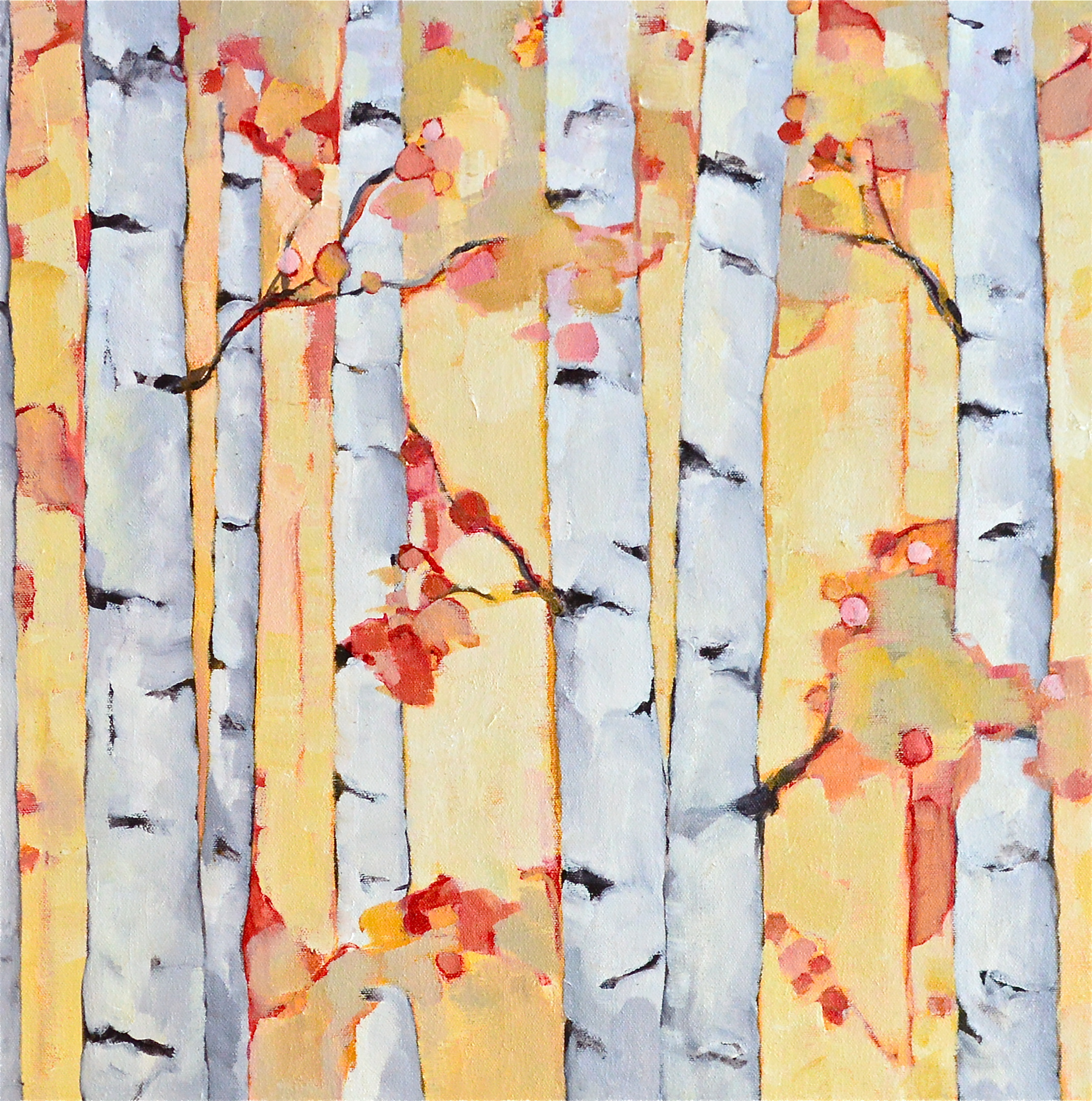 Fall Birches #2, oil on canvas, 24x24 SOLD