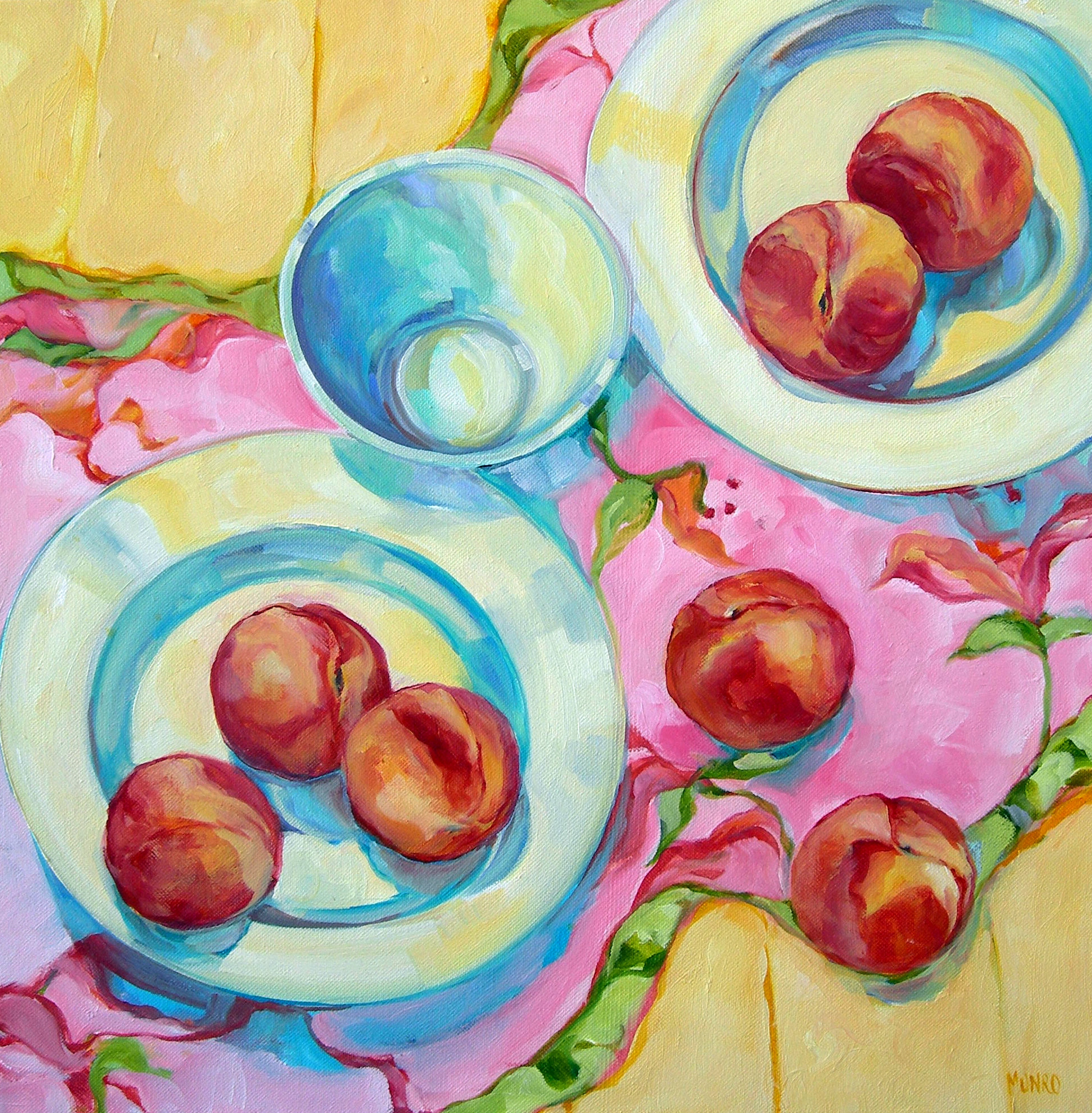 """Peaches and Cream, oil on canvas, 24x24"""" SOLD"""
