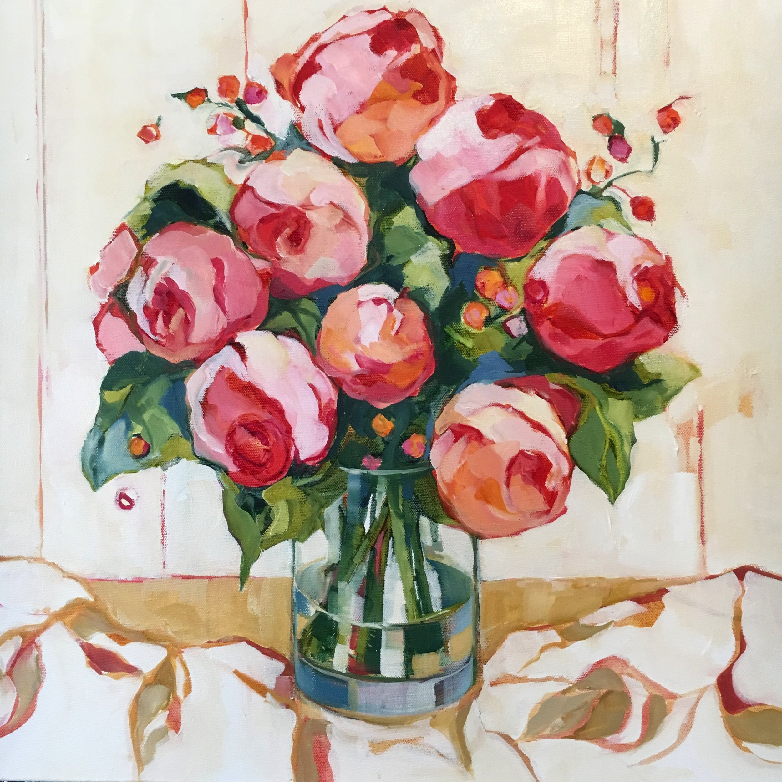 """Pretty in Pink, oil on canvas, 24x24"""" SOLD"""