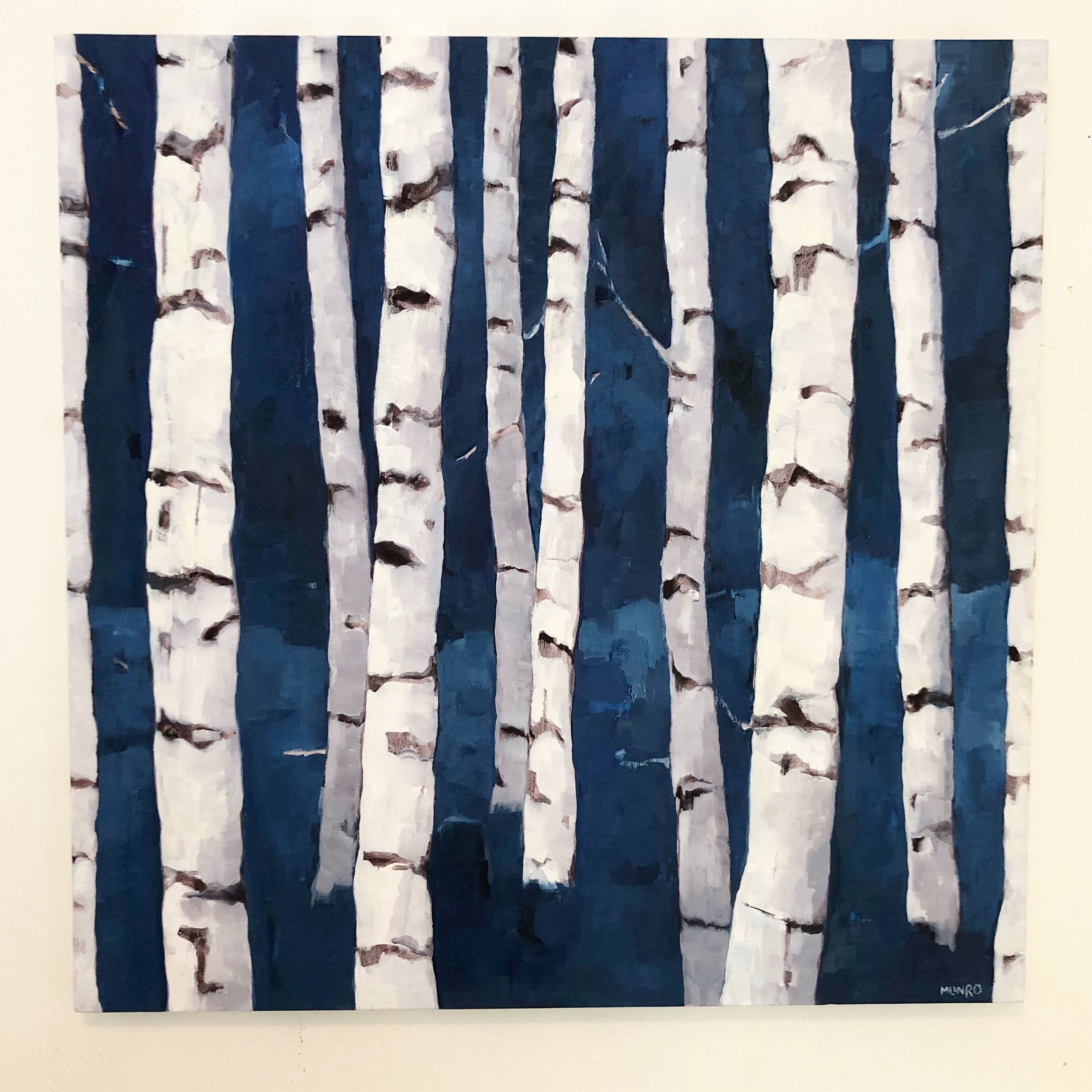 Birches in Indigo, oil on canvas, 36x36