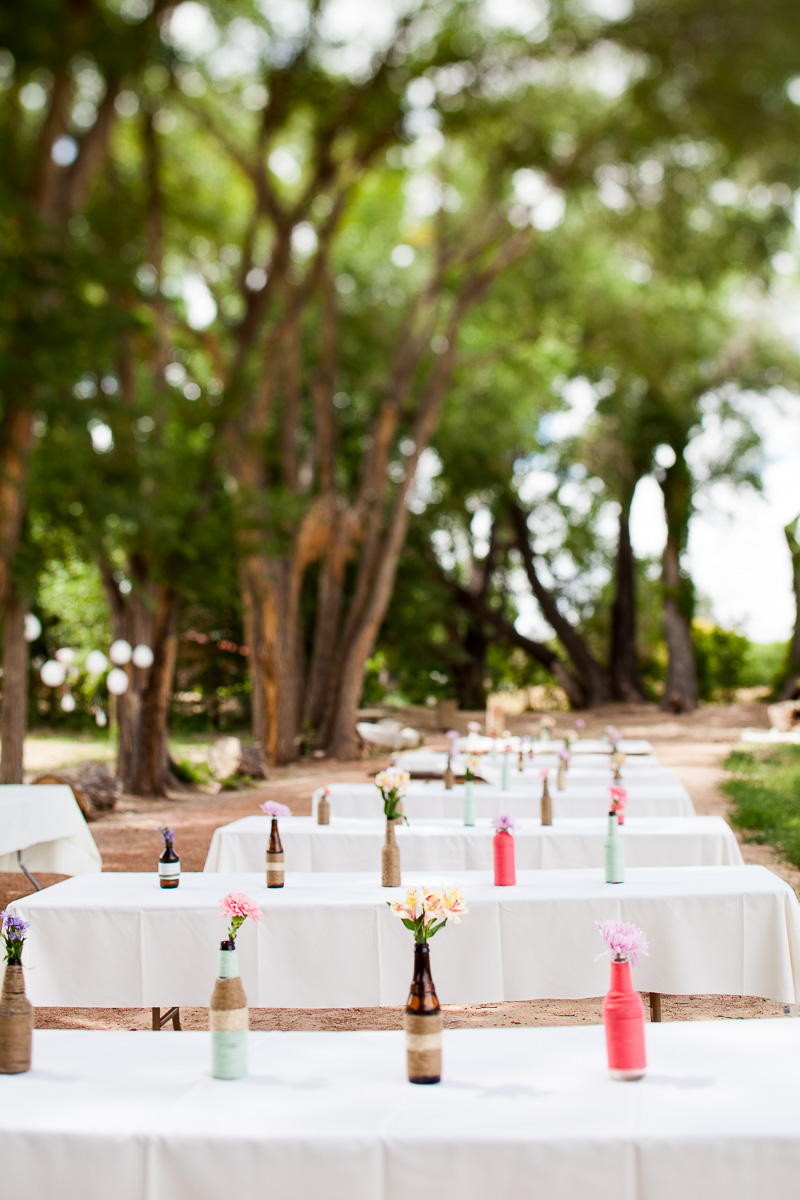 Simple, rustic tablescape for wedding reception
