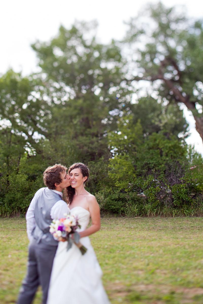 wedding kiss on the cheek, cute, outdoor, sweet